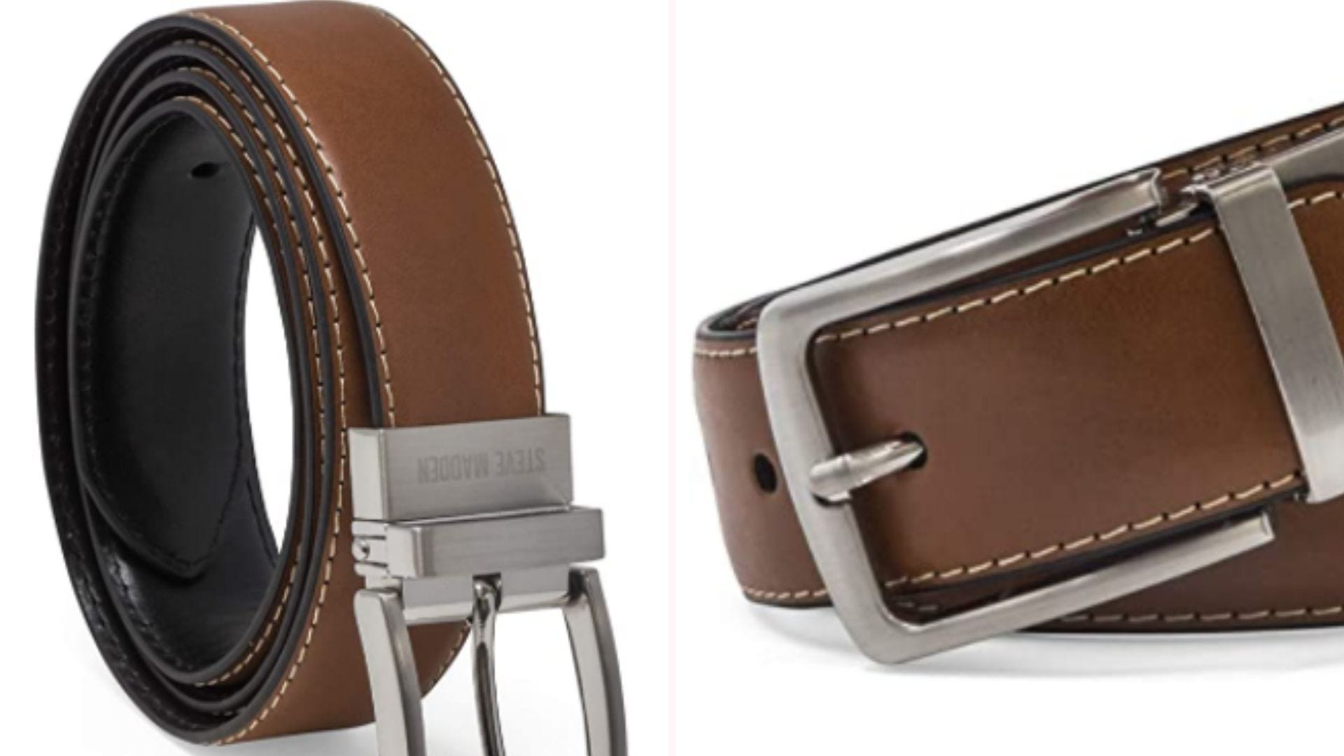 On the left, a cognac brown poly-leather belt that is positioned to reveal its reversible, black underside. On the right, a closeup view of the belt's gunmetal buckle and its feather edge stitch work.