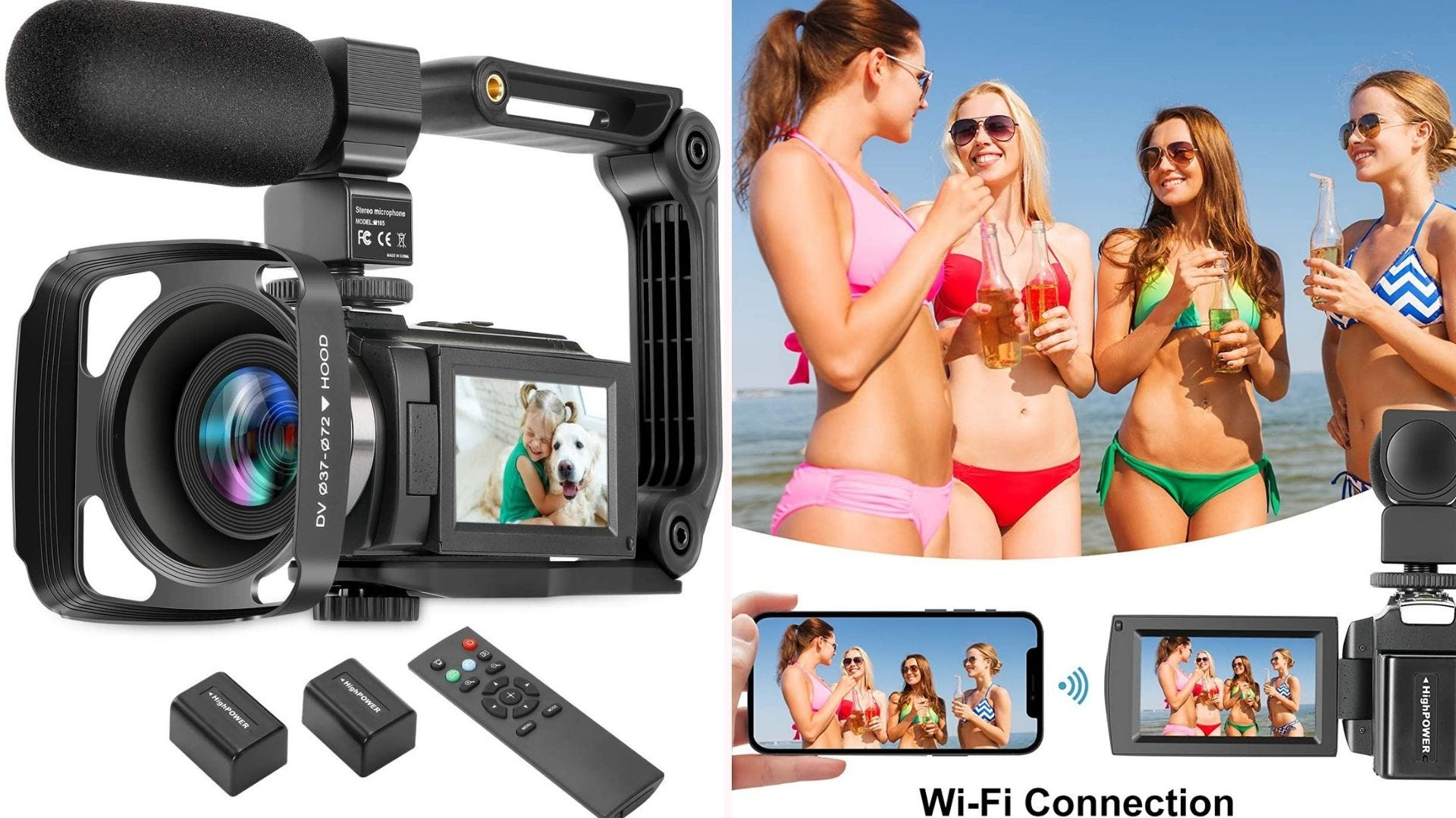 On the left, a black camera that features a large hood surrounding its lens, a three-inch screen on its left side, and a long external microphone directly above the lens. On the right, four women gather at the beach, demonstrating the camera's strong Wi-Fi connectivity.