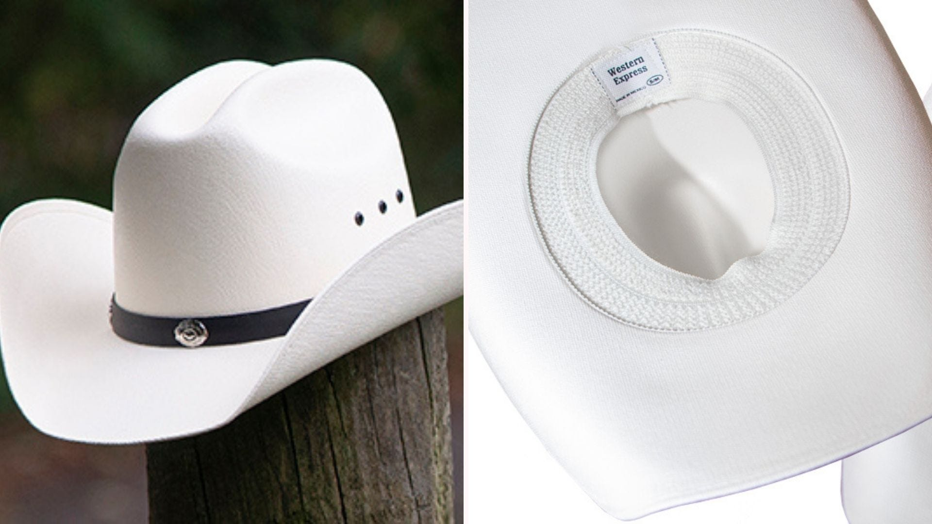 On the left, an off-white cowboy hat with a black crown band that's lined with silver conchos sits on top of a wooden post. On the right is the underside of the hat, which features an elastic closure.
