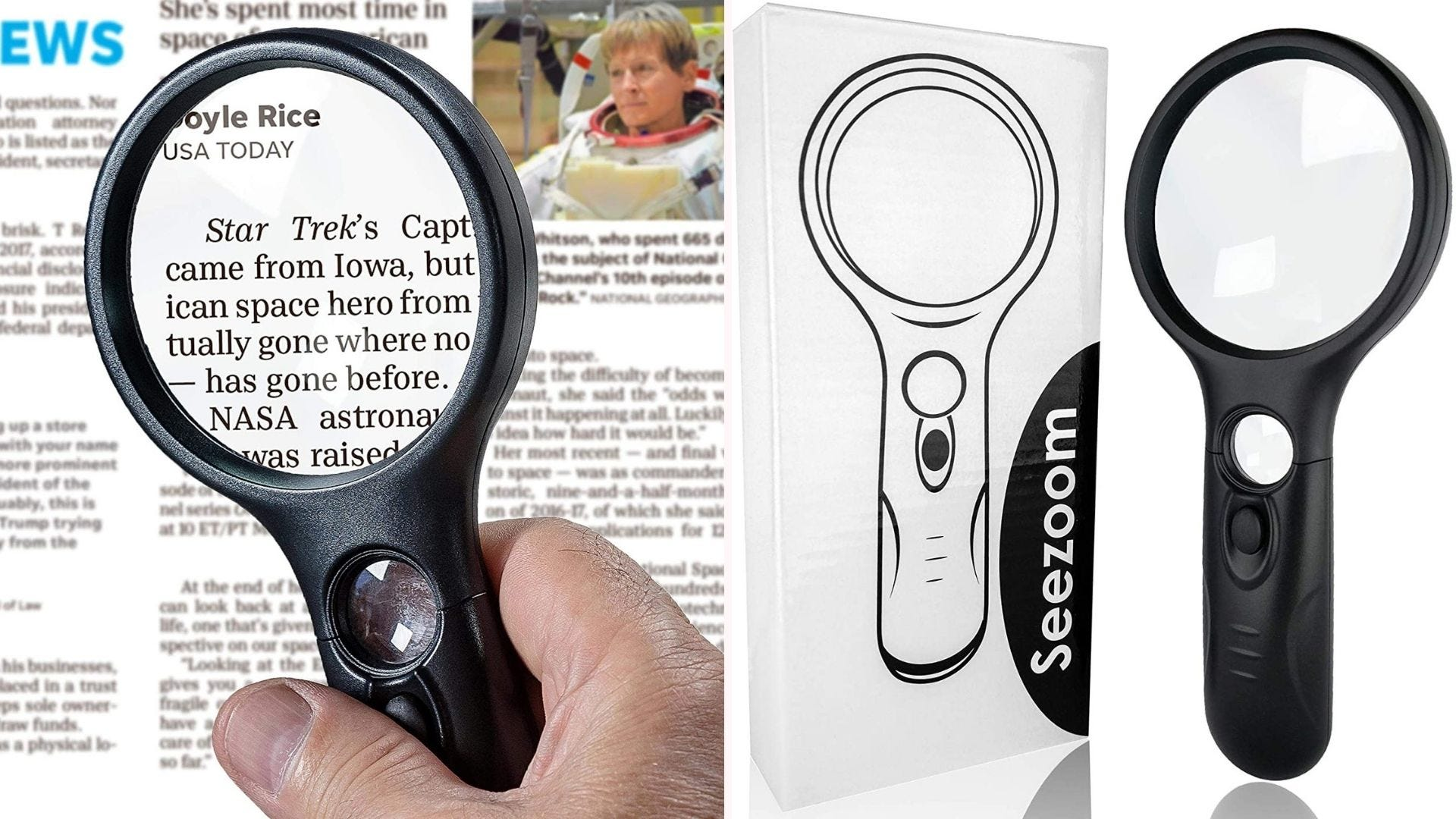 On the left, a circular magnifying glass with a large 3x lens, and a smaller 45x lens built into the handle of its frame, enlarges text. On the right, the eight-inch magnifying glass stands next to its cardboard packaging.
