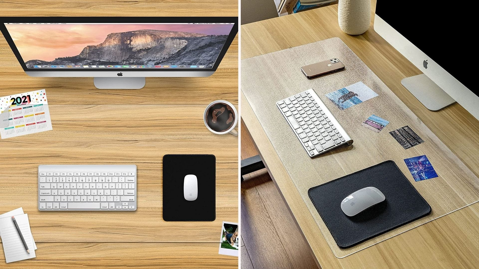 On the left, a bird's eye view of a clear desk pad beneath a keyboard, mousepad, and work accessories. On the right, the pad is illuminated by a nearby window.