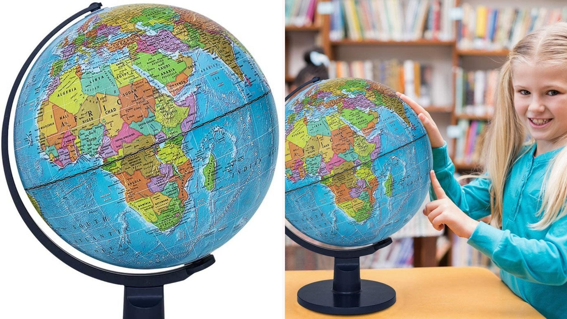 On the left, a closeup view of a 12-inch globe that features a thick plastic stand and base. On the right, a child studies the globe while sitting in a library.