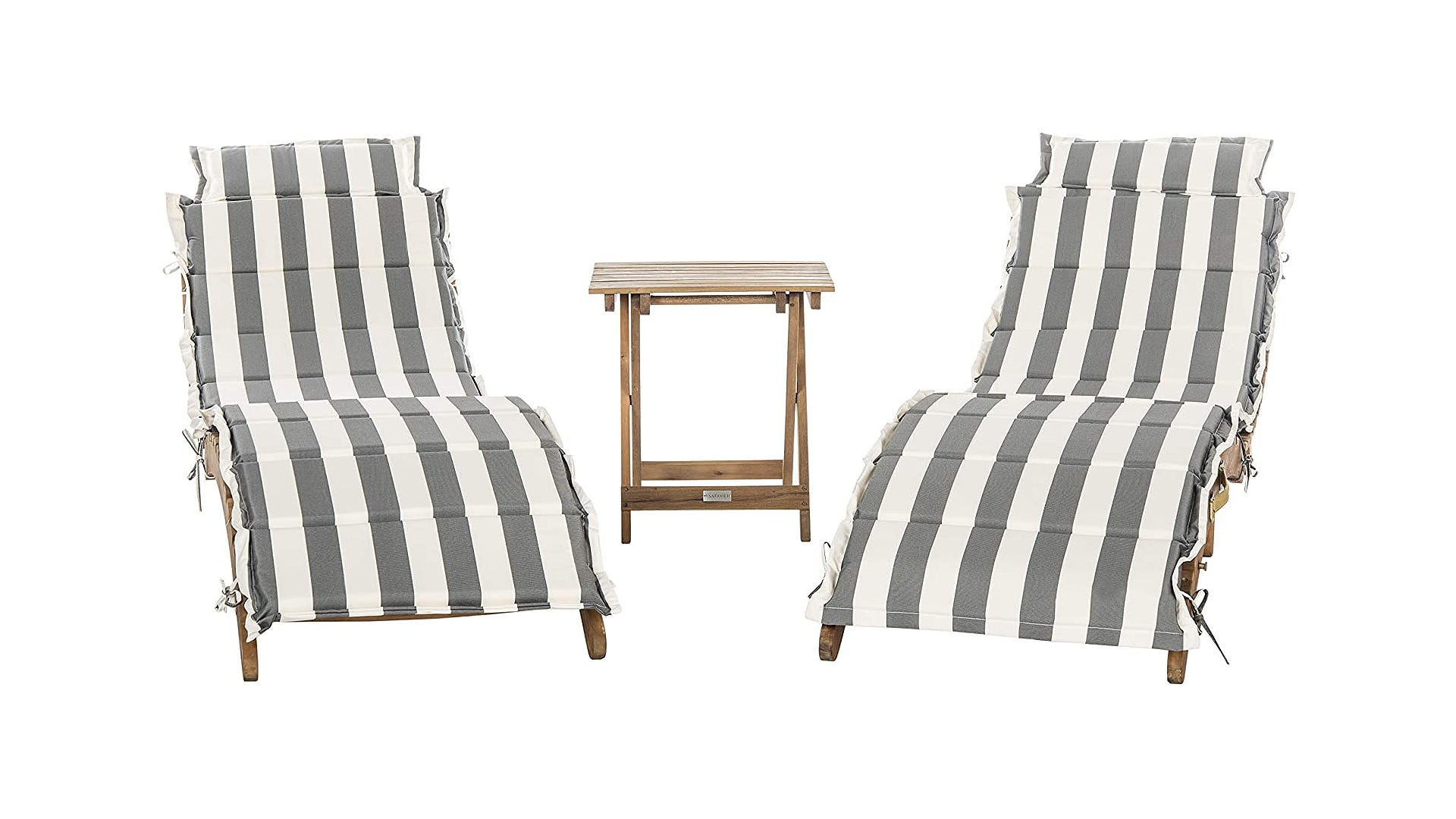 Two wooden frame lounge chairs with striped cushioned and wooden table.
