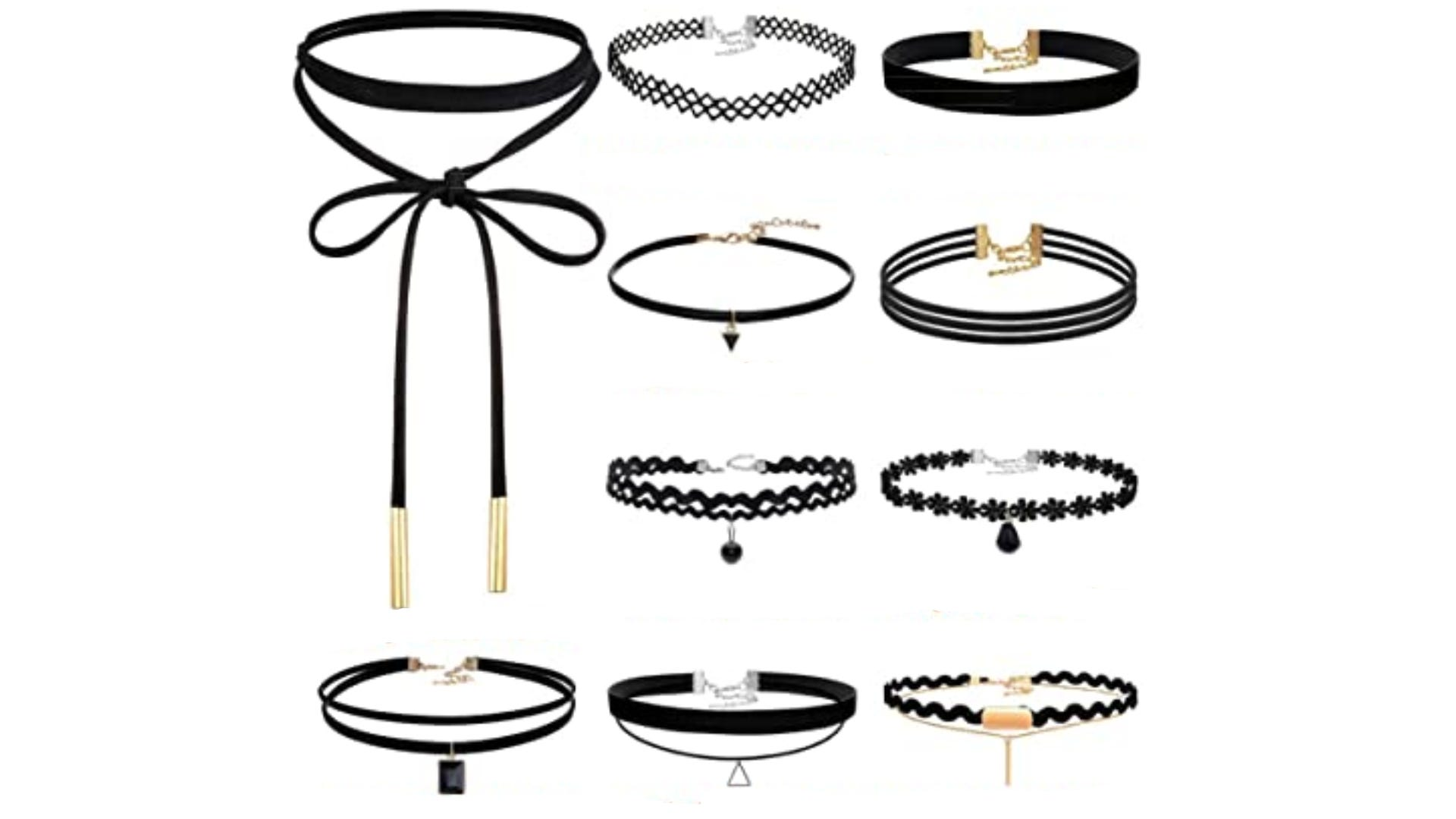 set of multiple black chokers with different styles