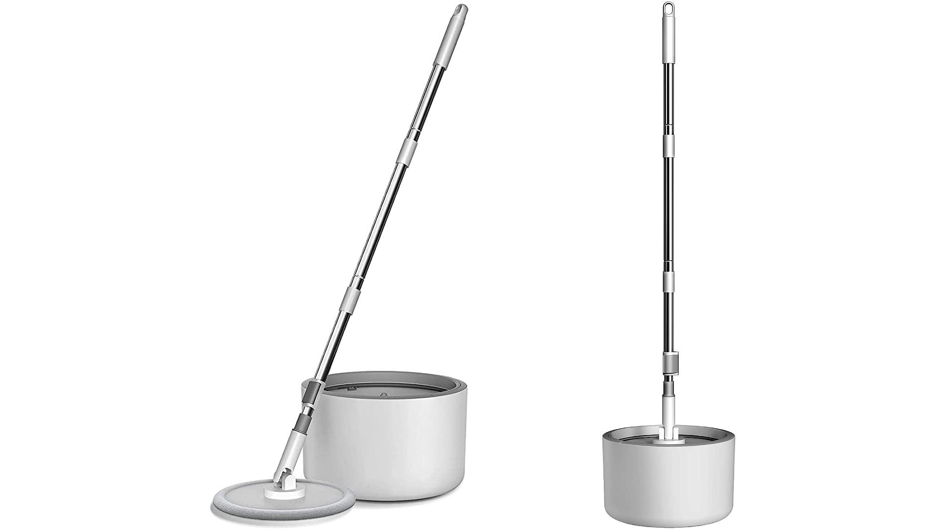 double view spin mop in and with bucket