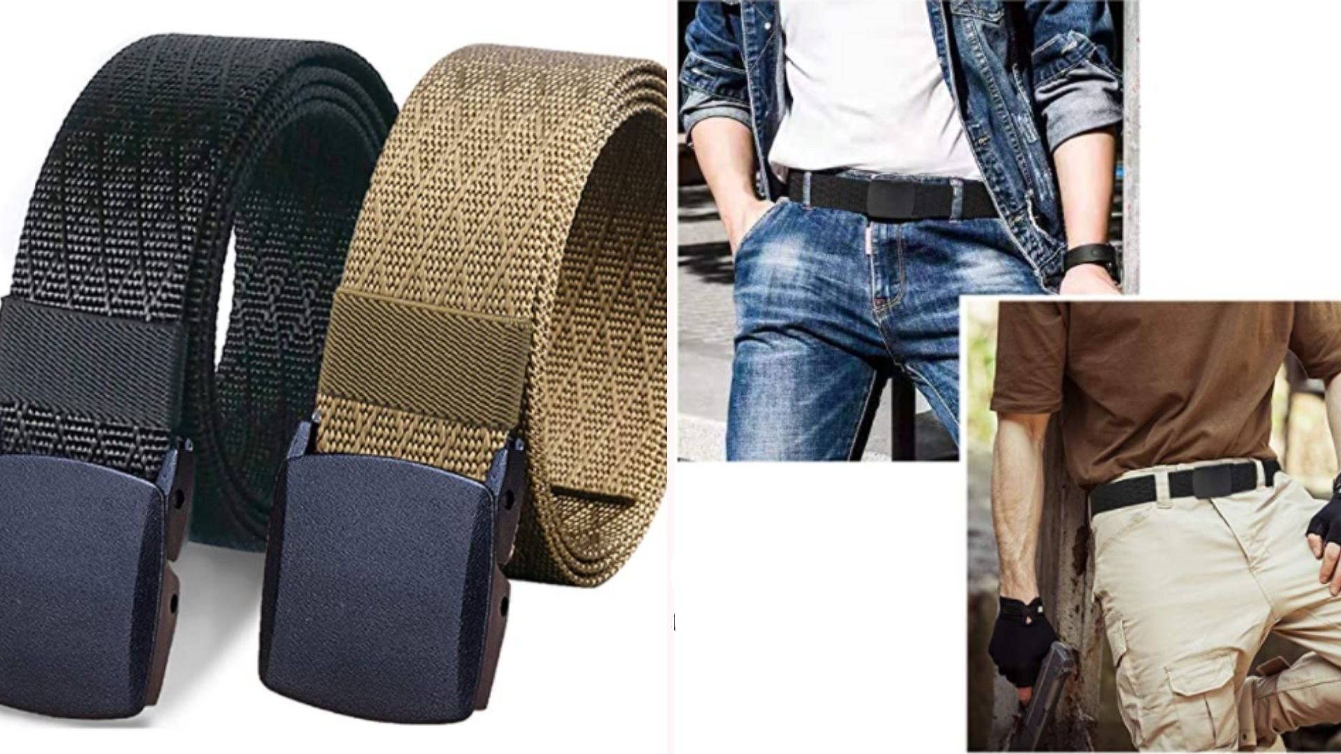 On the left, a side-by-side view of two belts, one black and one tan, featuring nylon material and a plastic belt buckle. On the right, two models, one in casual attire and one in outdoor gear, wear the belt.