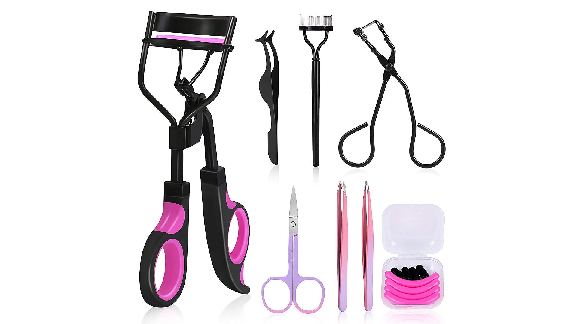 A complete set of black and purple eyelash curler tools.