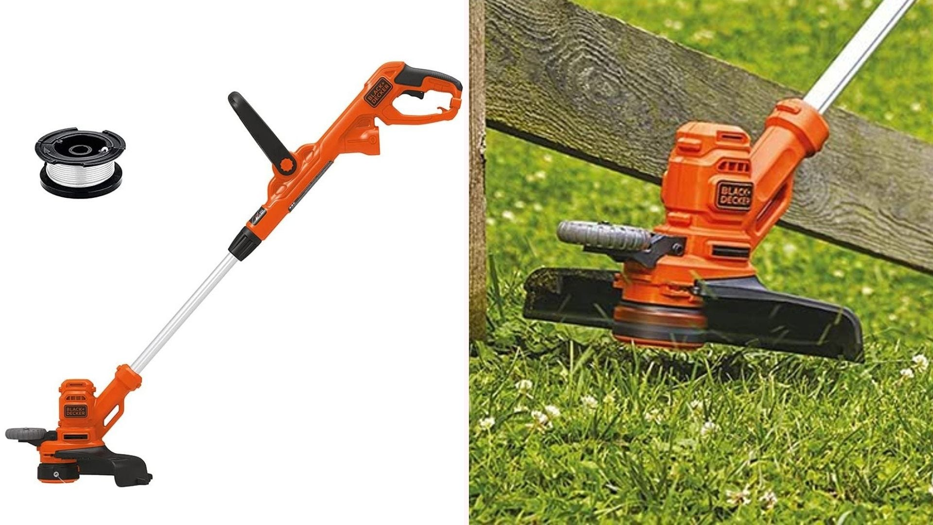 On the left, an orange trimmer with a spool of thread. On the right, a close up of the string spinner cutting grass.