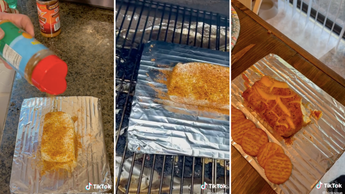 A person seasoning a block of cream cheese, the block of cream cheese on a smoker, and the cooked block of cream cheese sitting next to a bunch of crackers.