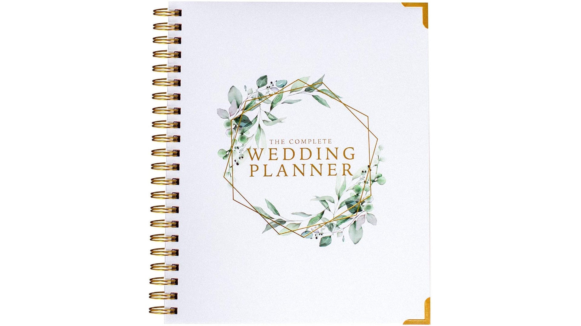 A spiral bound wedding planner book cover decorated with green and gold accents.
