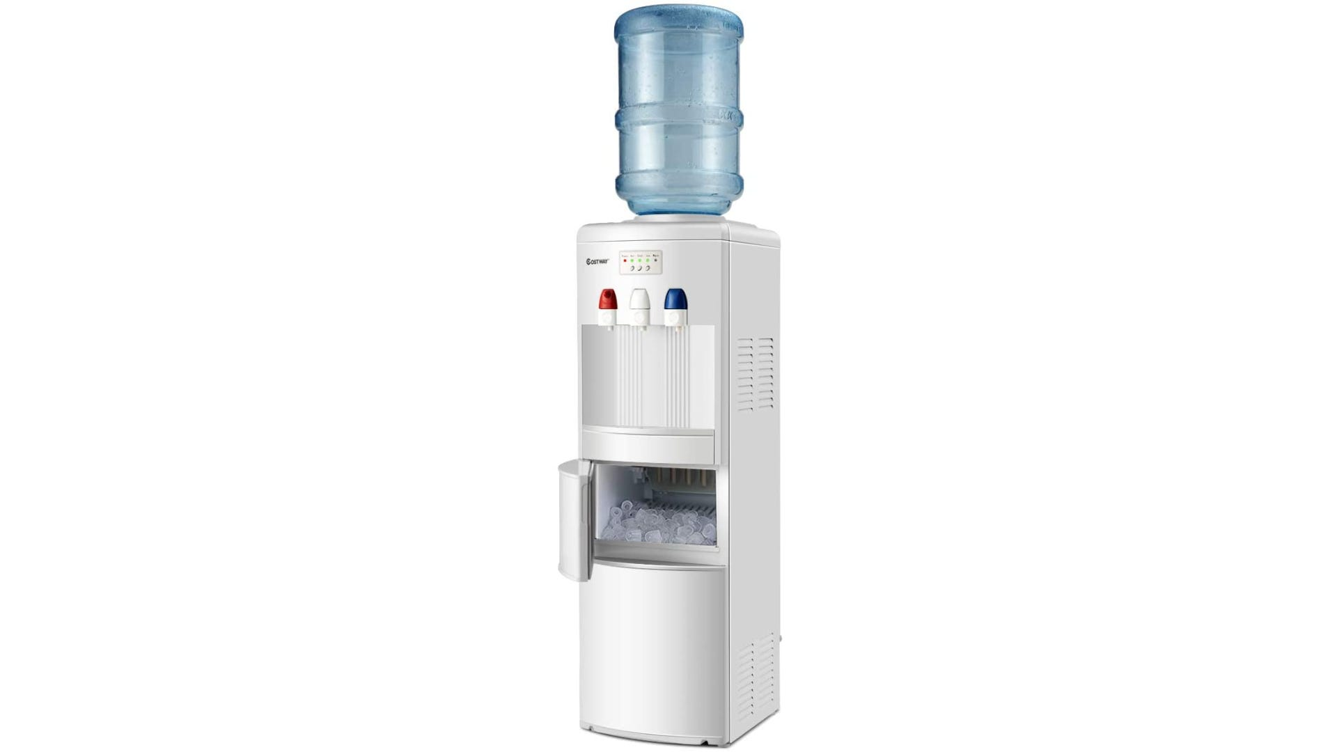 A white water cooler with a blue water jug and a open ice compartment.