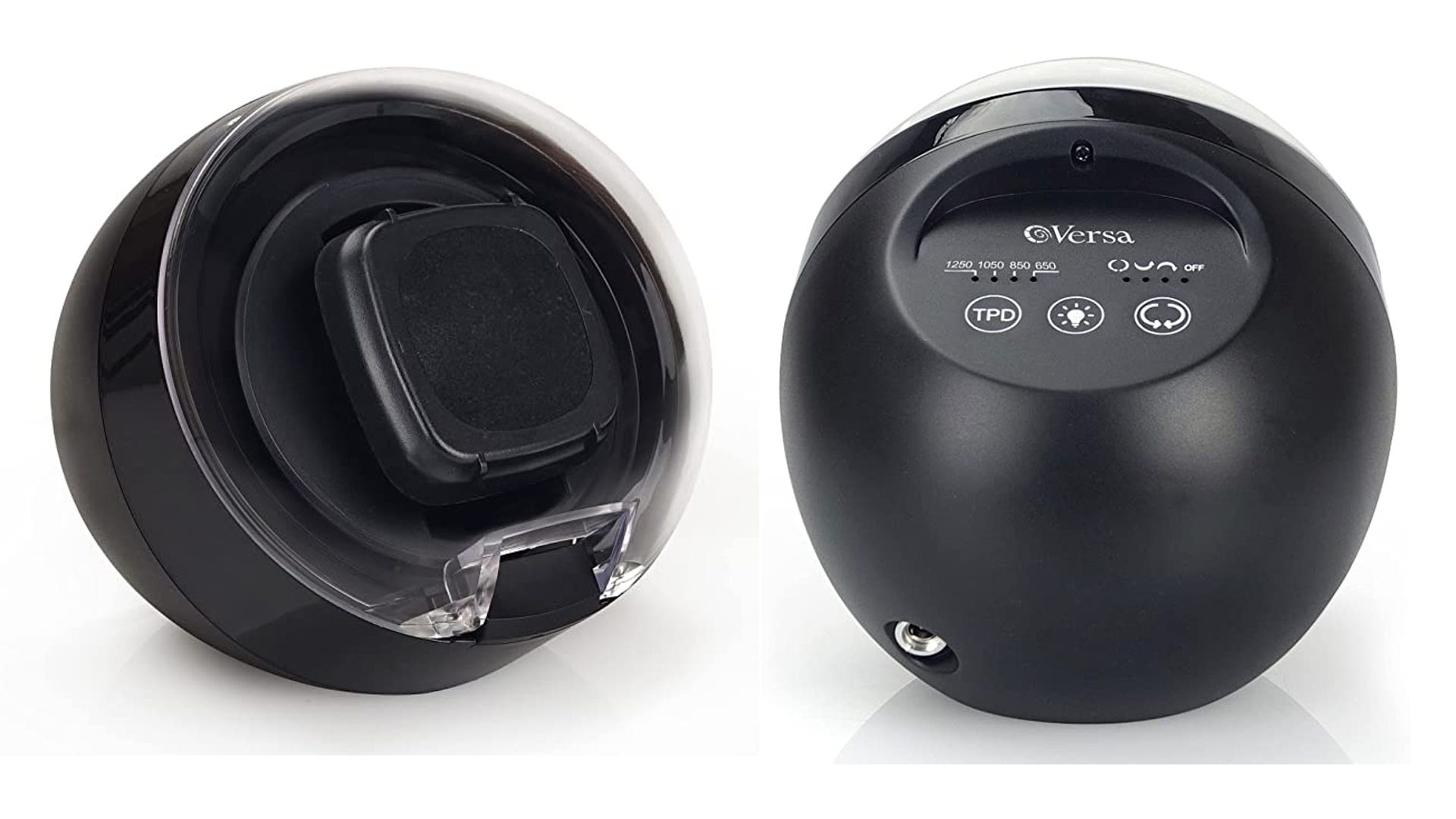 A front and back view of a small black watch winder that has a rounded shape.