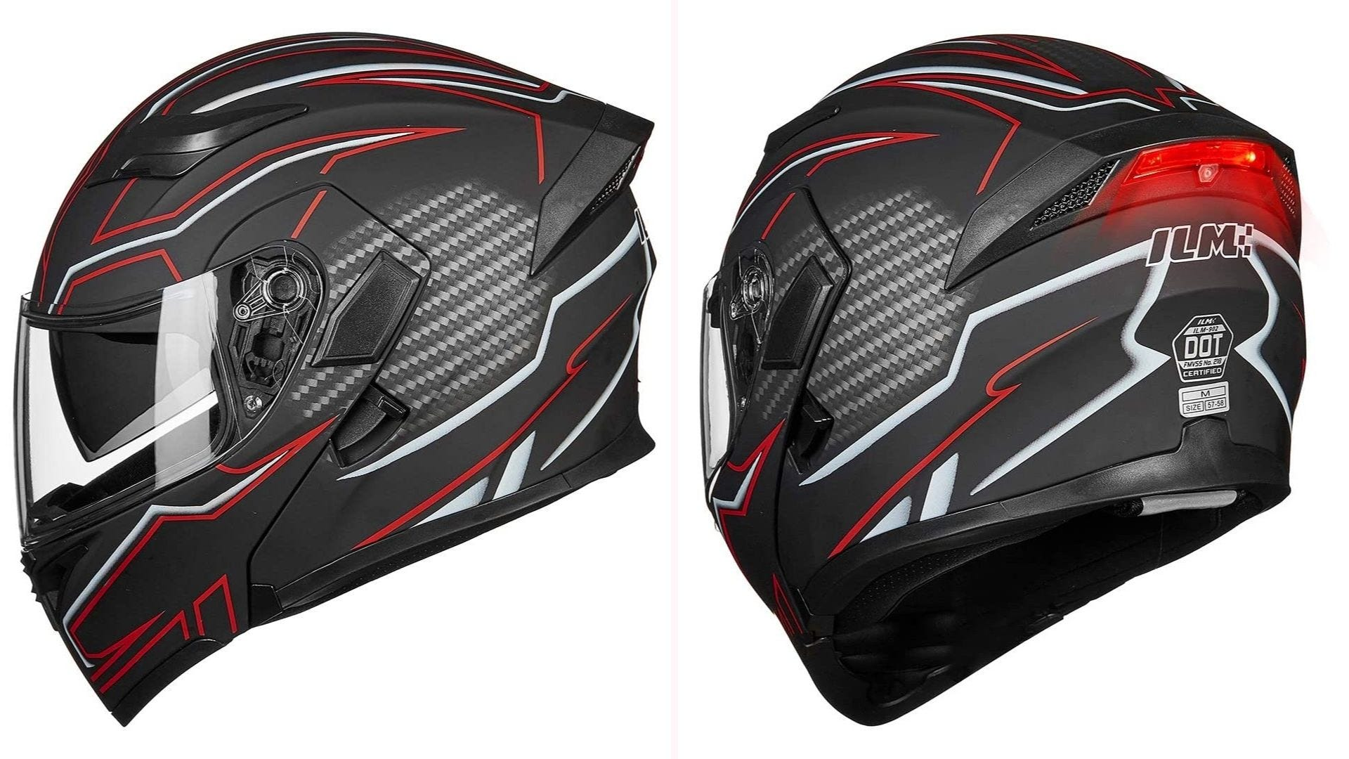 A side and back view of a black full-face helmet with red and white geometric patterns with a red light located on the back of the helmet.