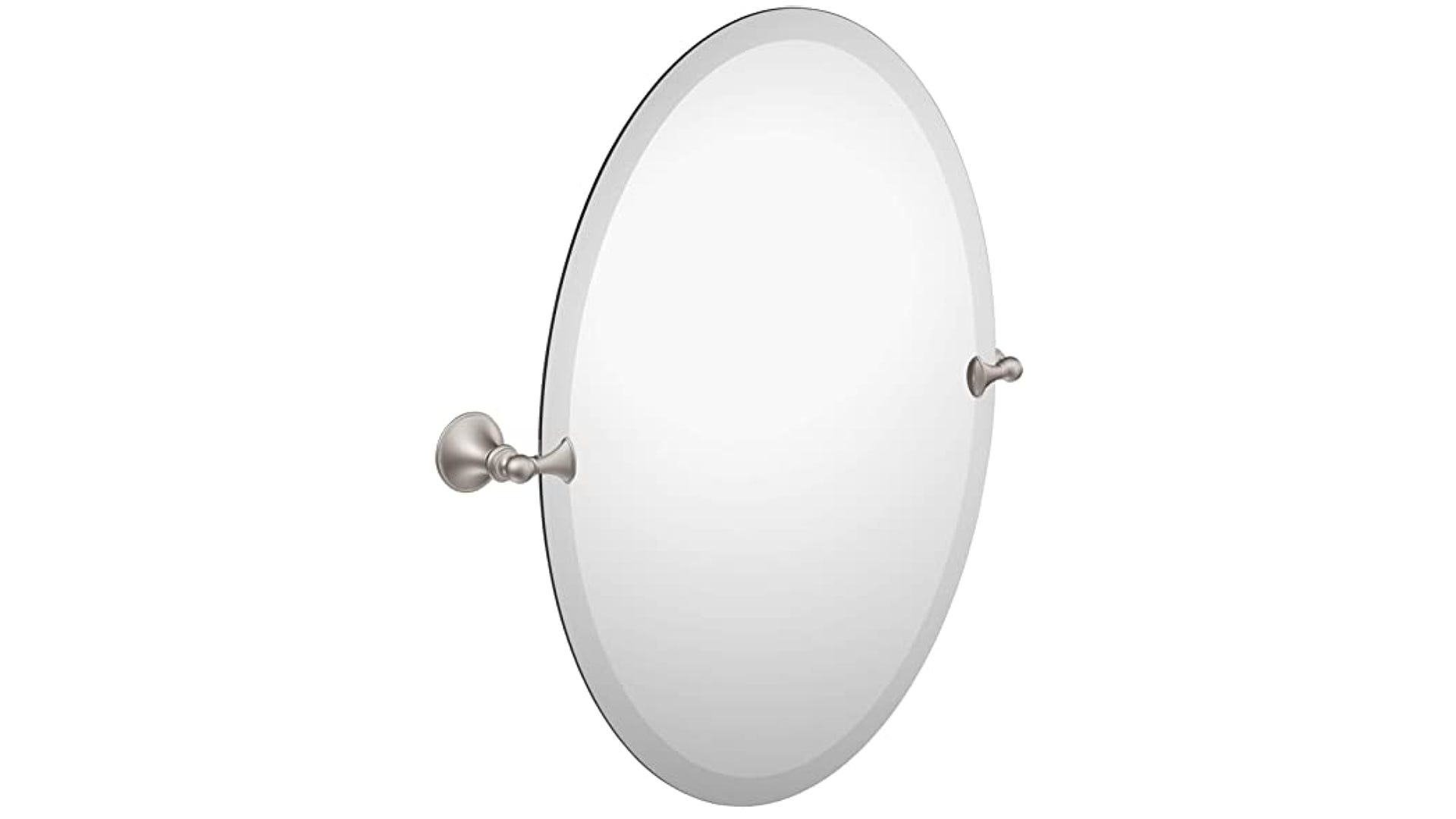 Pivoting oval mirror with beveled edge and no frame.