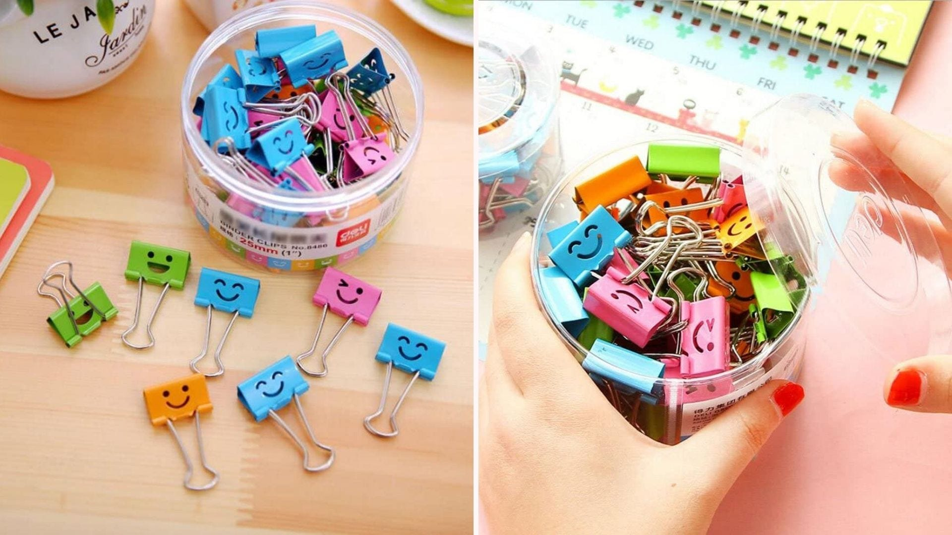 multi colored smiley face binder clips inside and outside jar