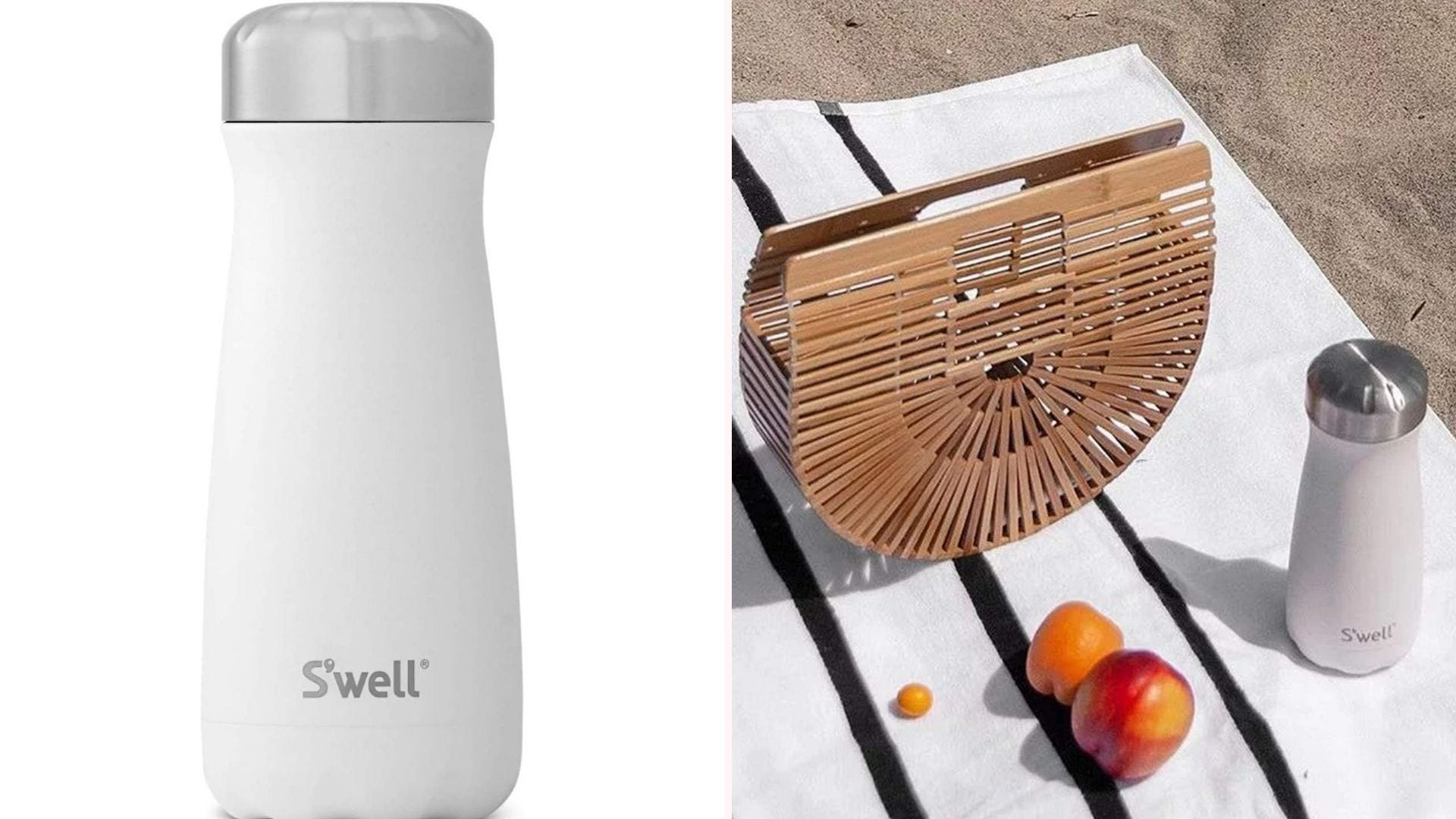 a white insulated mug with a silver lid resting on a towel by a basket and some fruit