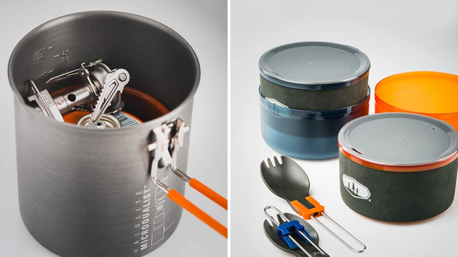 Two images featuring the GSI microduelist cookware pot with utentils and marrying bowls.