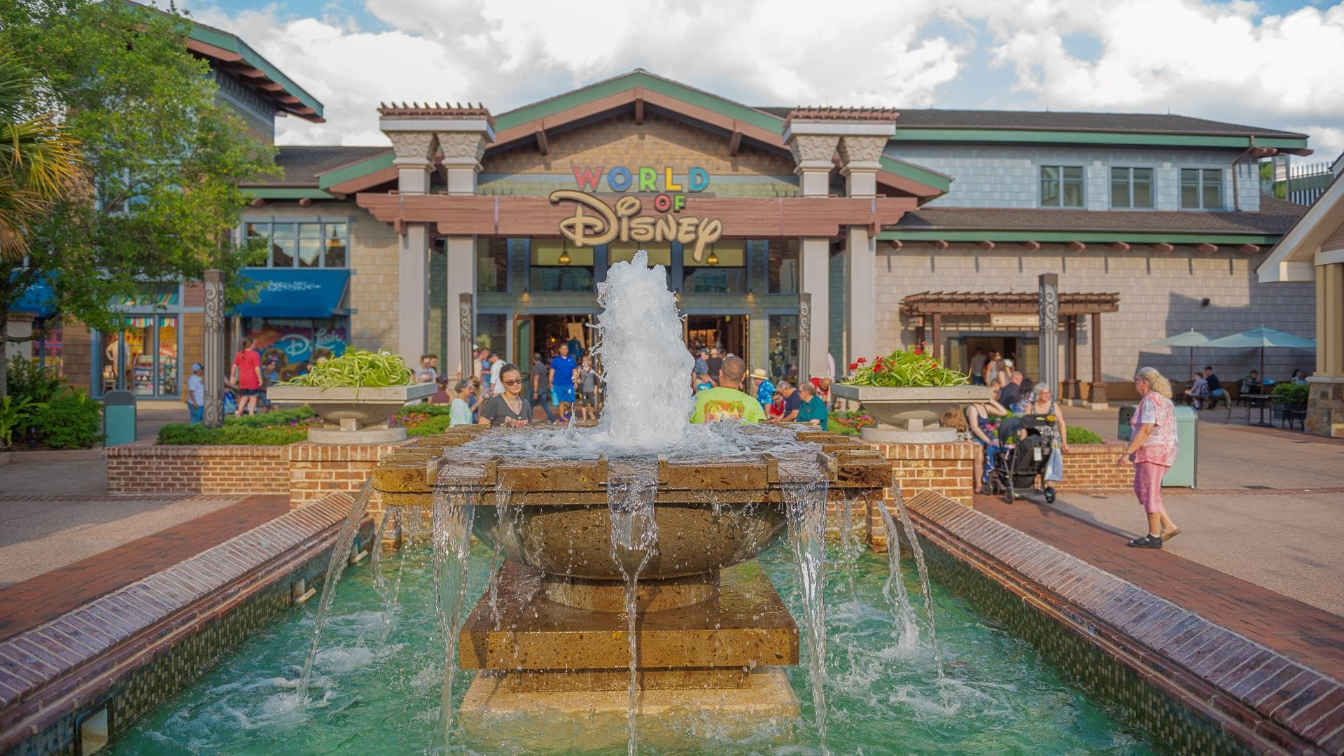 The World of Disney store and the fountain at Disney Springs in Orlando, Florida.