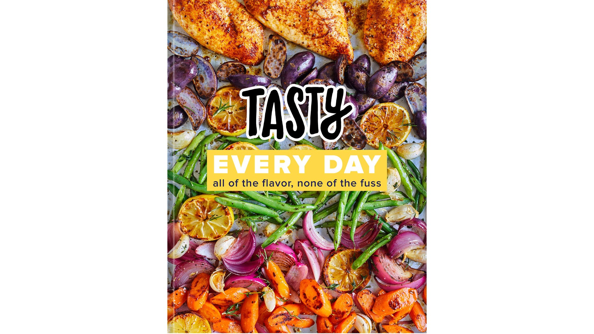A book cover with five horizontal lines of assorted vegetables and meat.