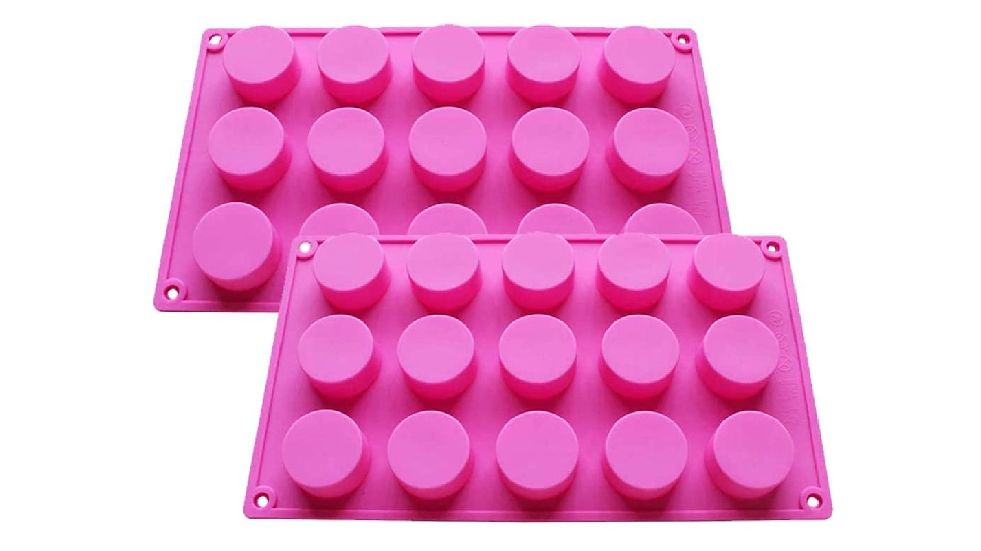 two bright pink silicone molds with small round cavities
