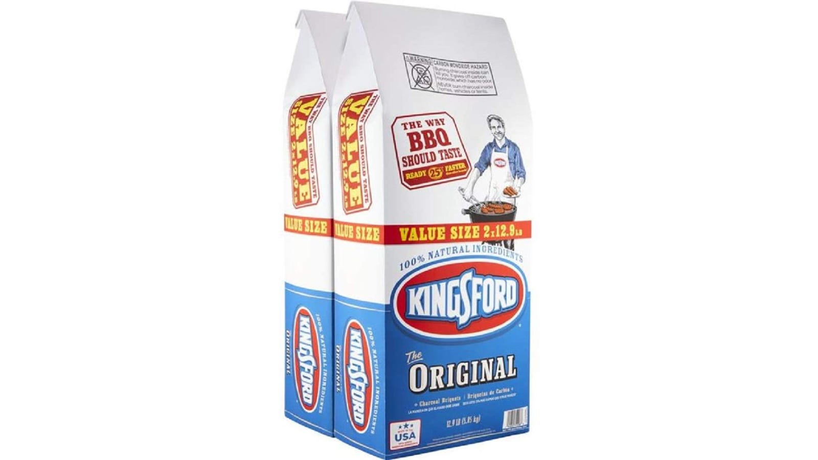 Two bags of Kingsford original charcoal.