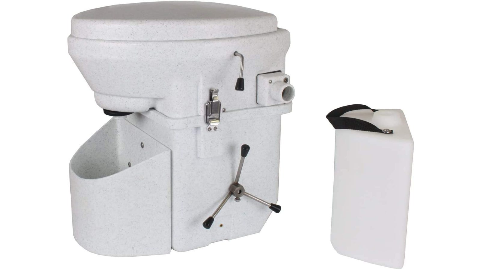 A composting toilet with a spider handle on the side