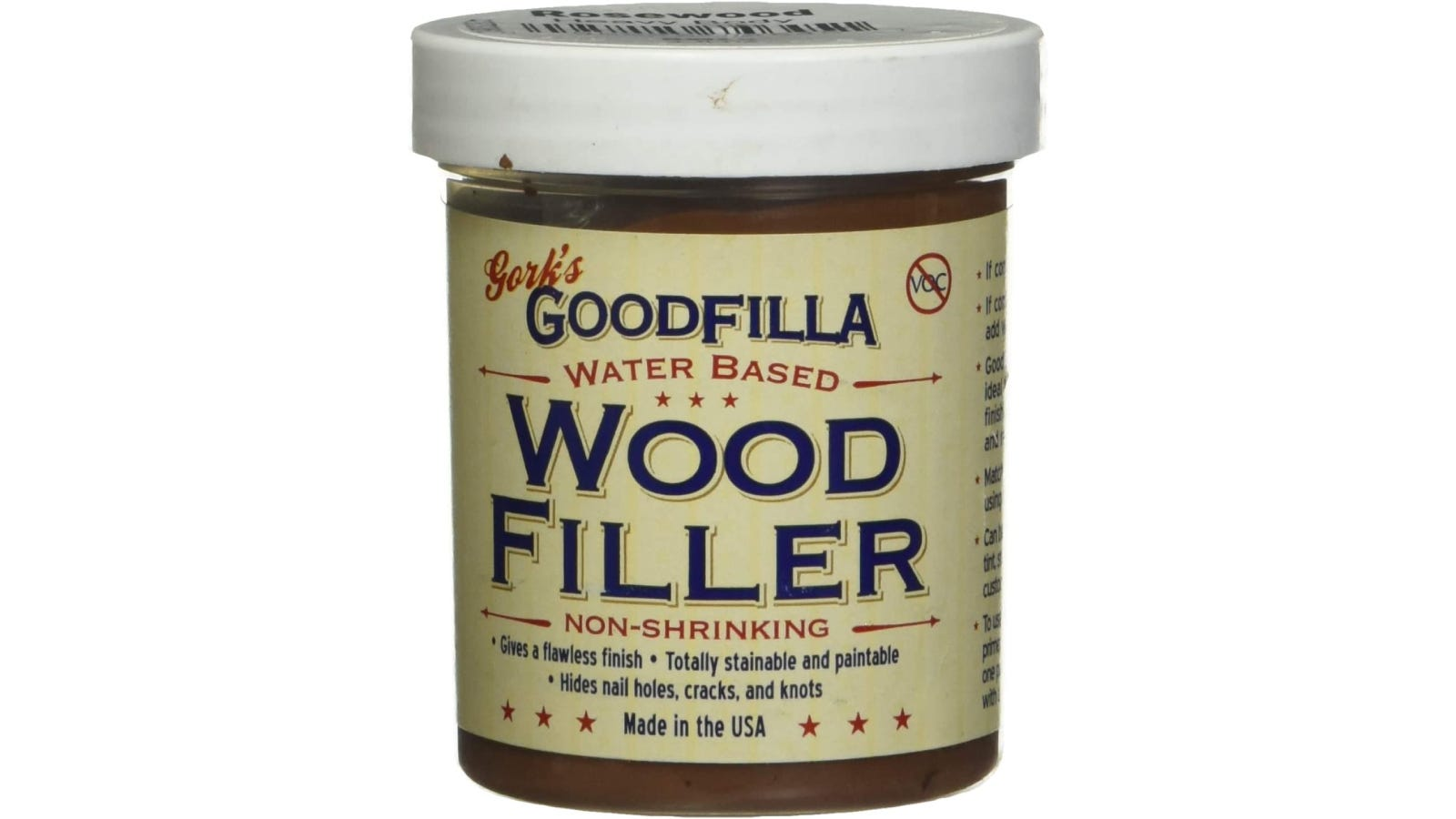 A container of Goodfilla water-based wood filler