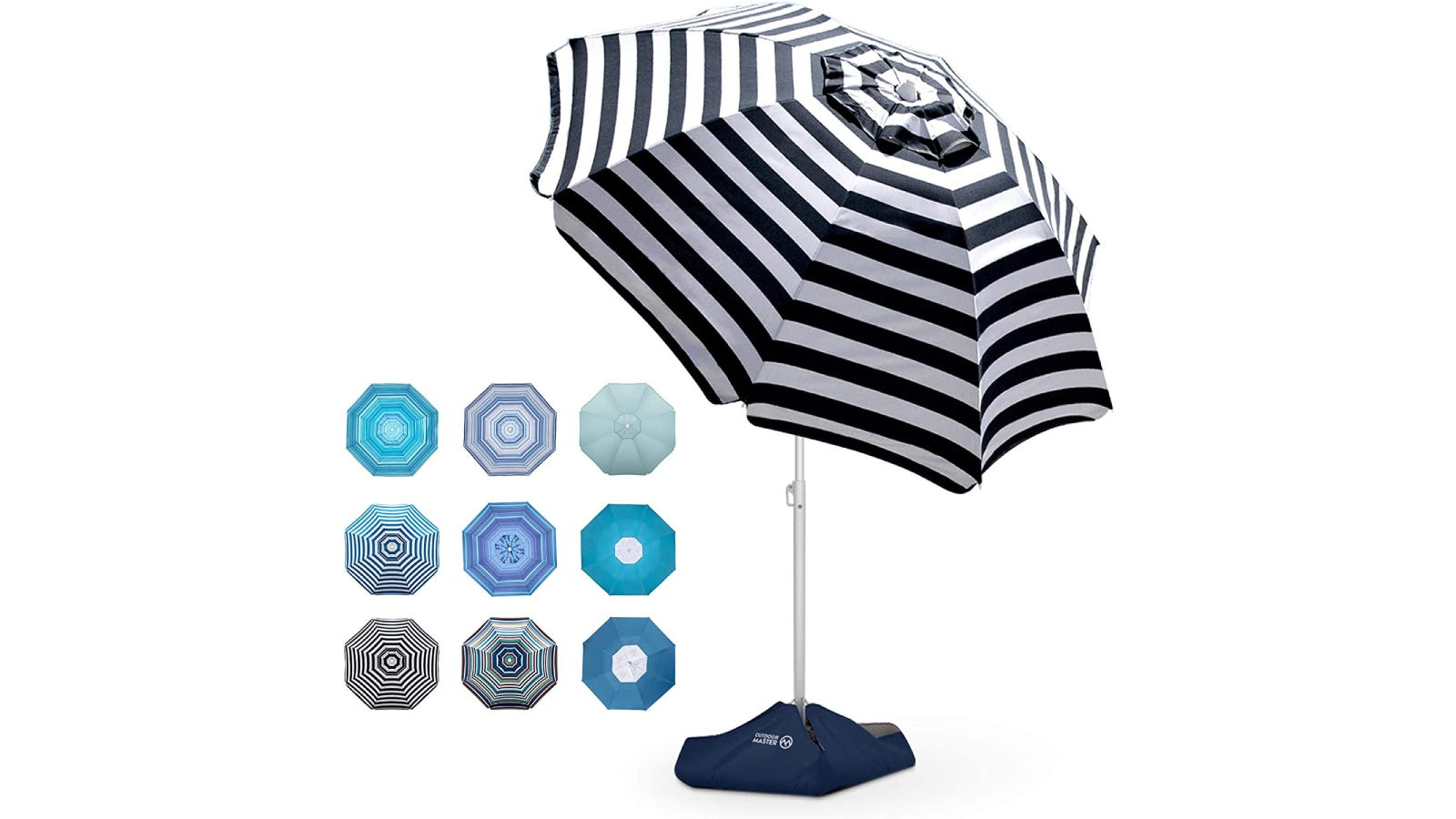 A striped standing beach umbrella with different color options shown.