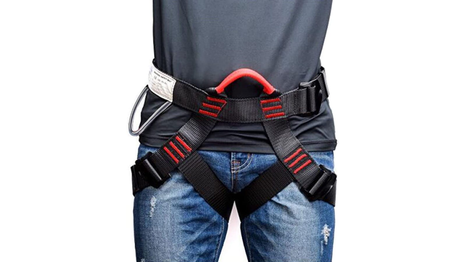 A man wearing a black and red safety harness.
