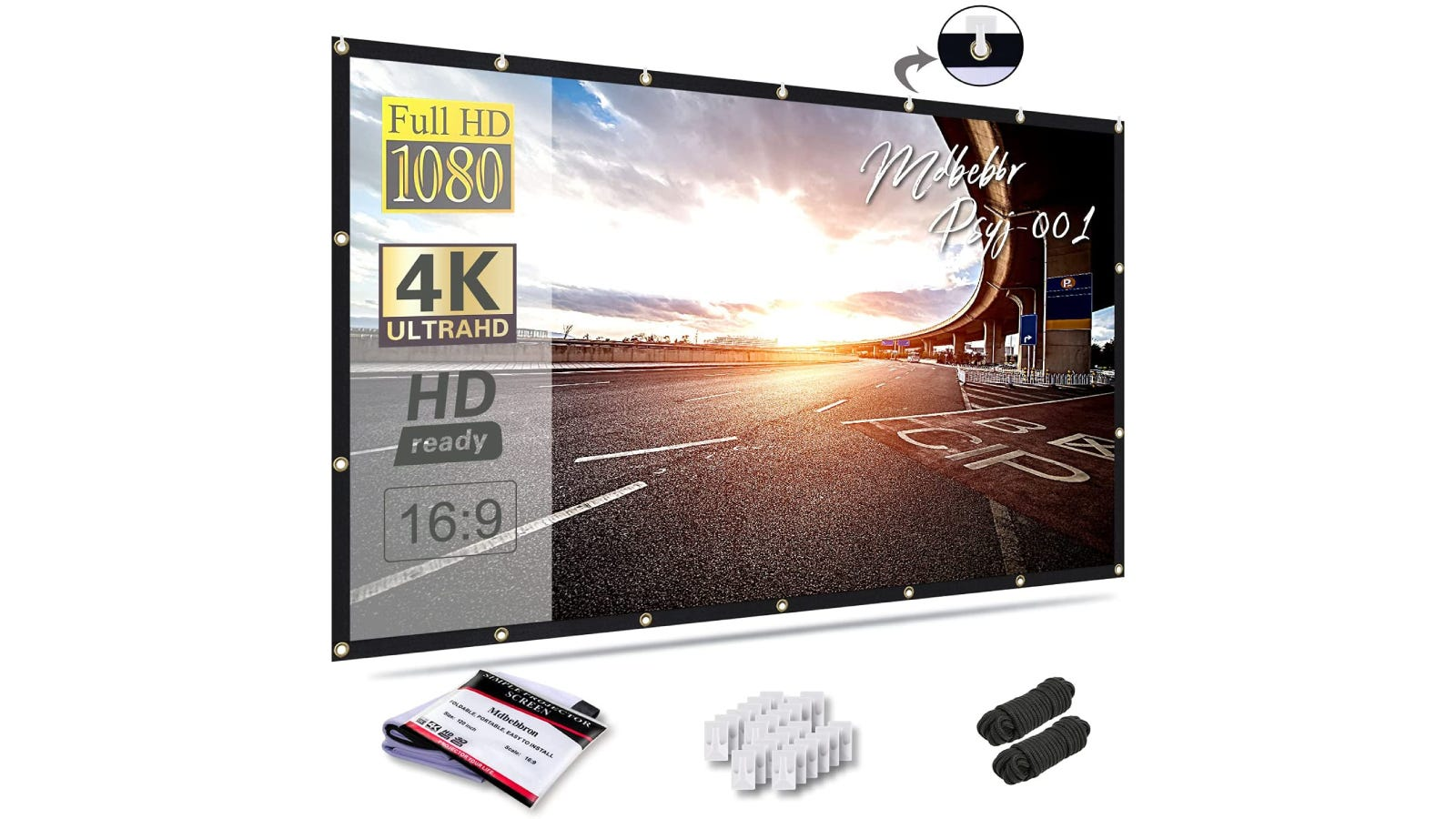 A projector screen displaying a sunny image of a road with the installation items sitting below it.