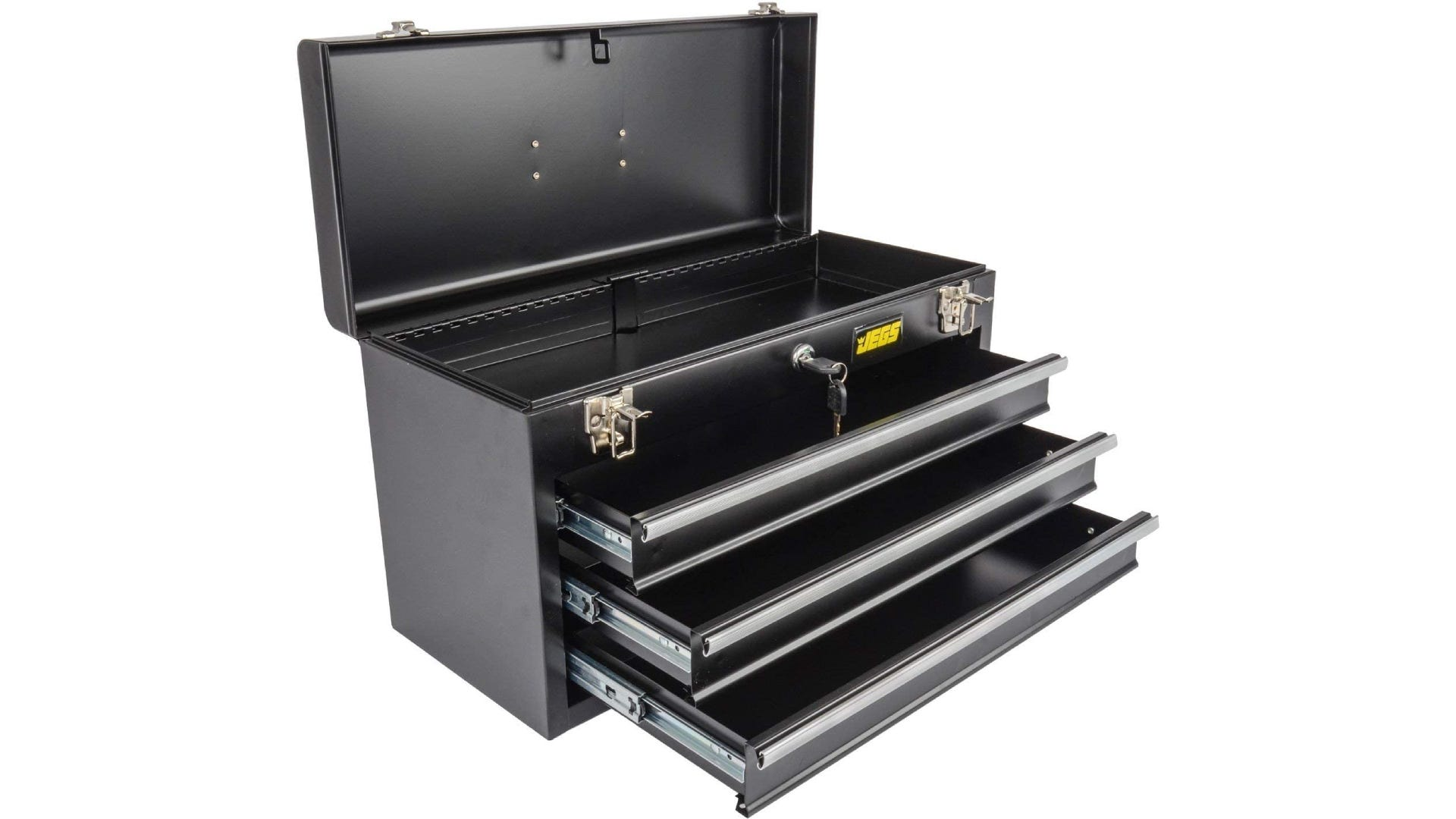 A black tool box with three open drawers and an opened top.