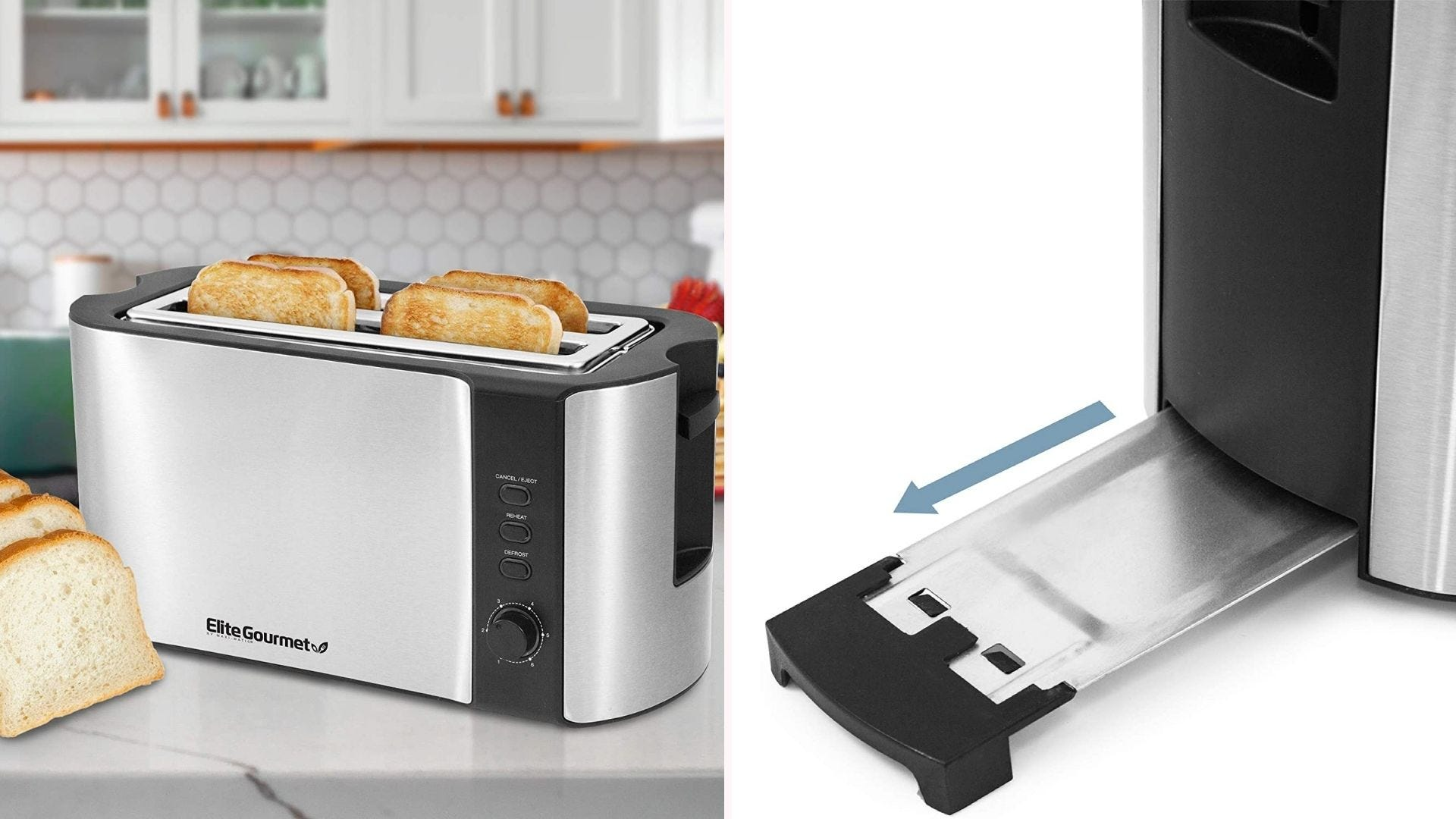 On the left, a silver toaster with black trimming sits on a kitchen counter while four pieces of lightly-browned toast sit inside its two slots. On the right is an close up view of the toaster's slide-out crumb tray.