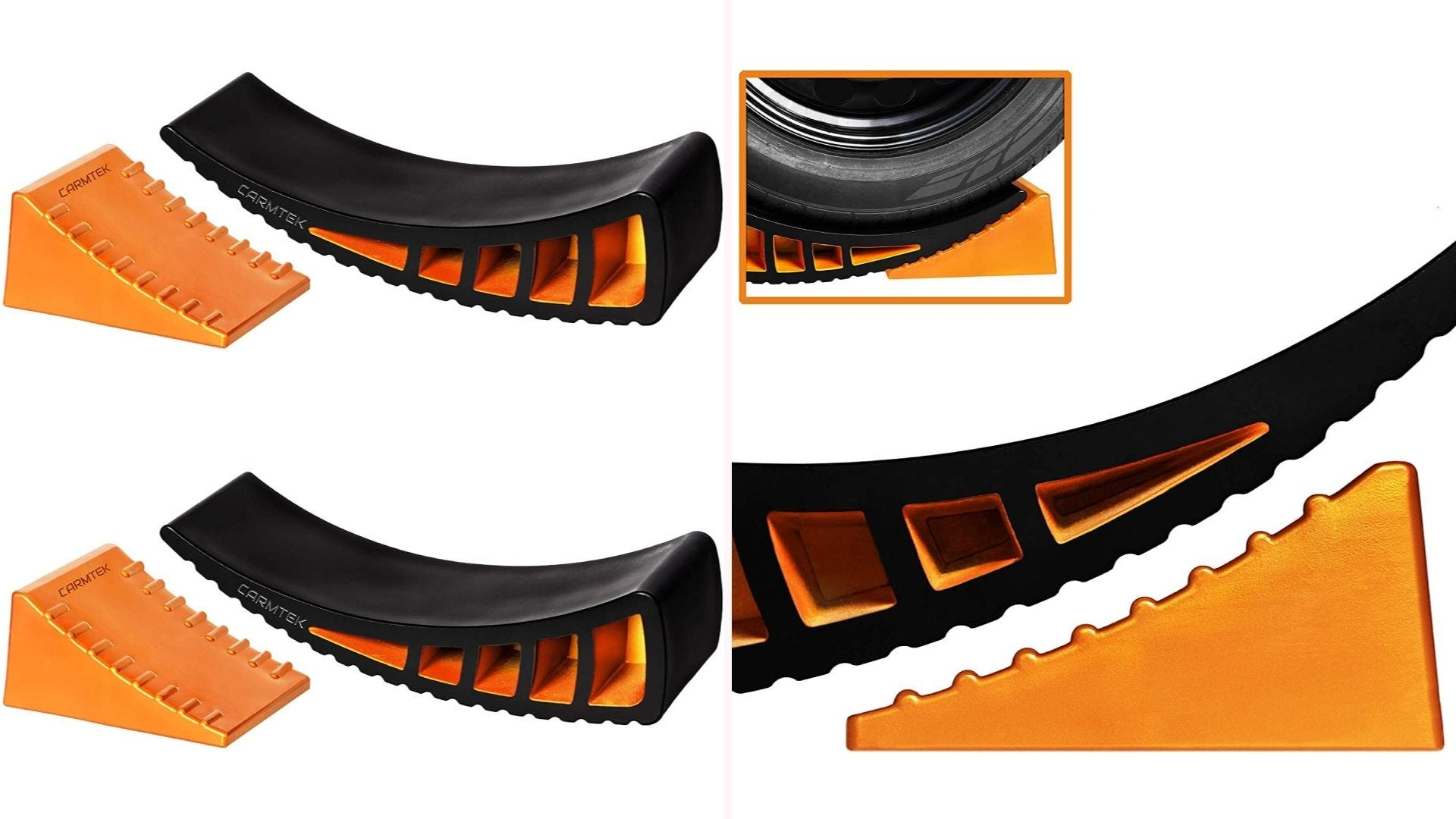 On the left, two orange wheel chocks sit next to two black levelers. On the right, a close-up view of the grooves on the wheel chock sliding into the groove channels on the leveler.