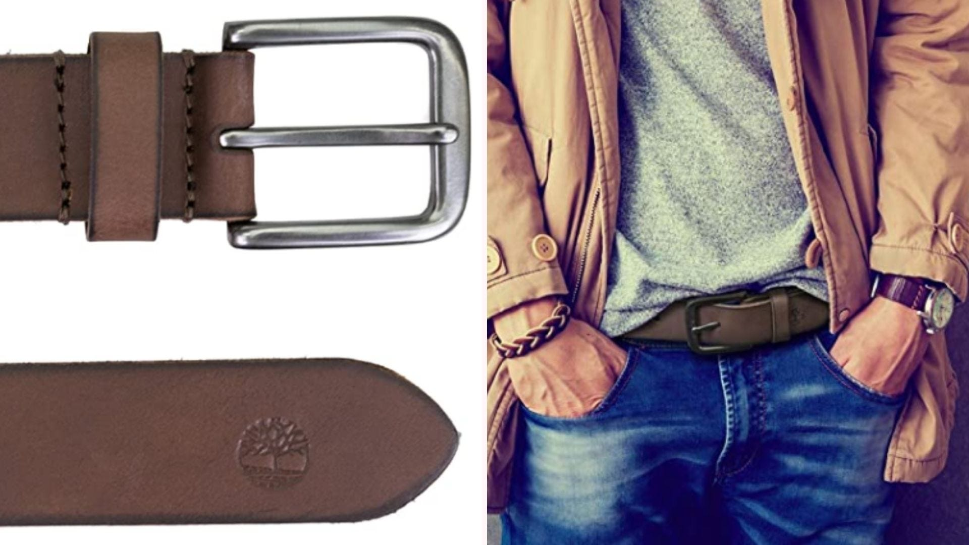 On the left, a closeup view of the leather belt's dark brown surface, gunmetal buckle, and the Timberland logo embossed on its tail end. On the right, a model in a casual top and blue jeans wears the belt.