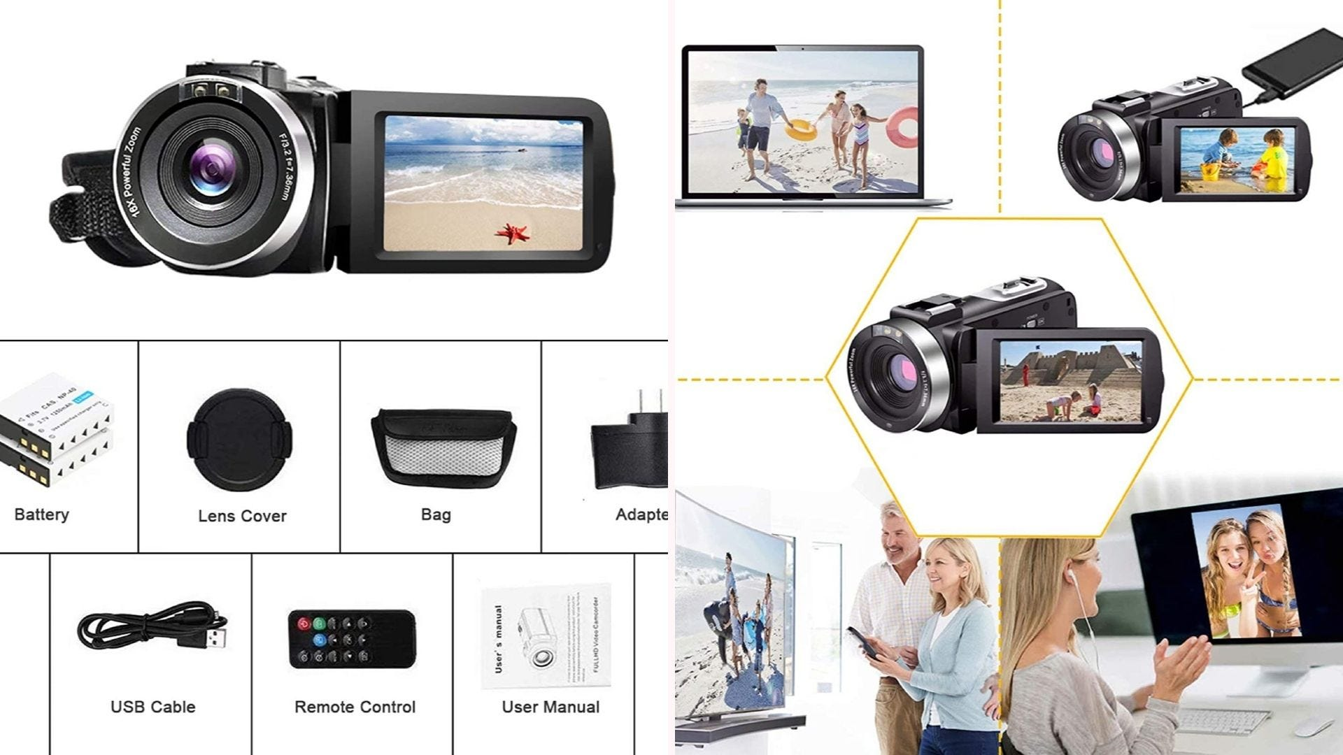 On the left, a black and silver camcorder with a three-inch screen rests above the its complimentary pieces, like two batteries, an adapter, and a USB cable. On the right, the camcorder is surrounded by four means of presentation: laptop, TV, webcam, and the ability to record while charge.