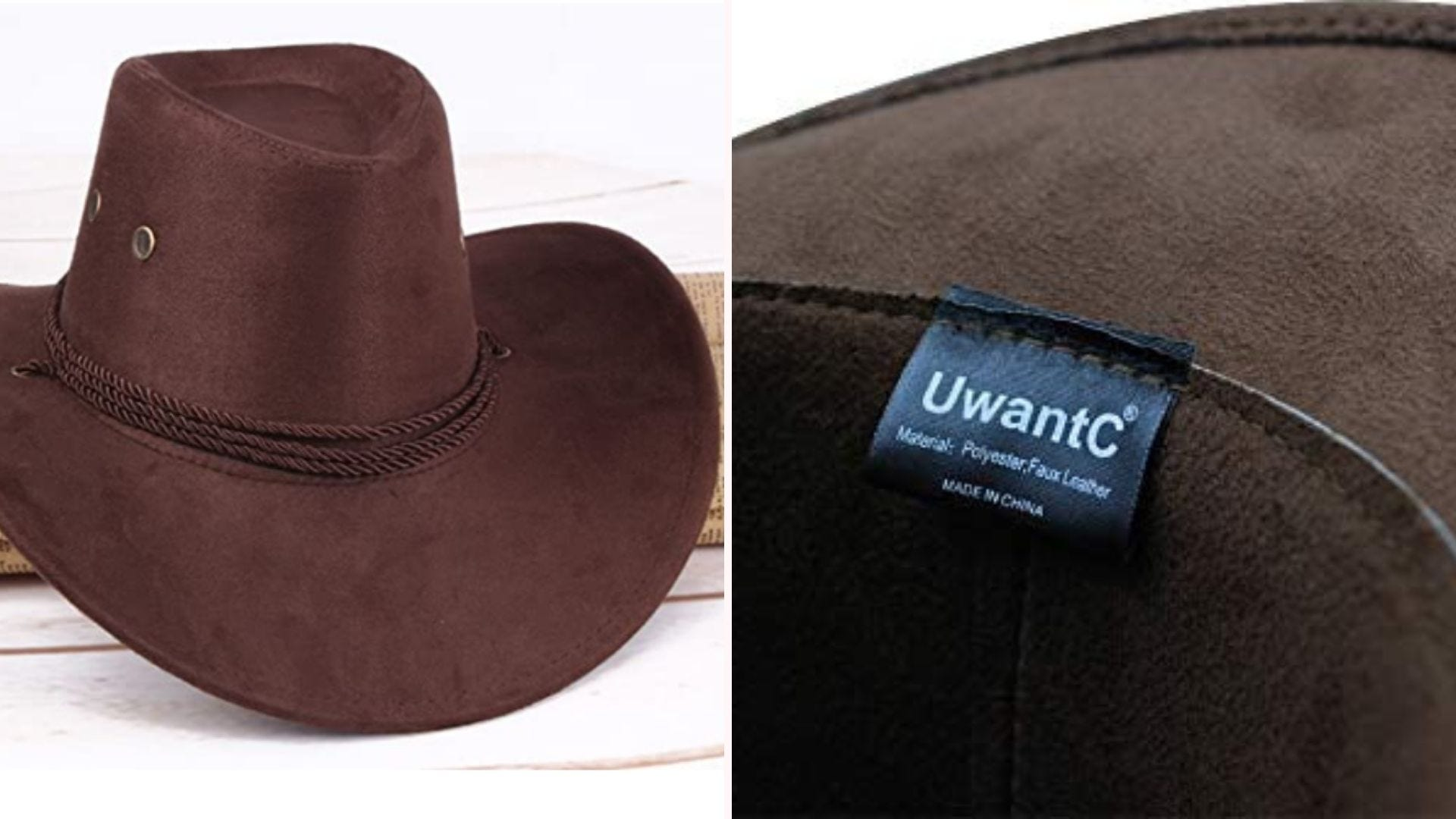 On the left, a coffee-brown cowboy hat with an acorn-style crown. On the right, a close up of the hat's underside tag, which showcases the it's polyester and faux leather construction.