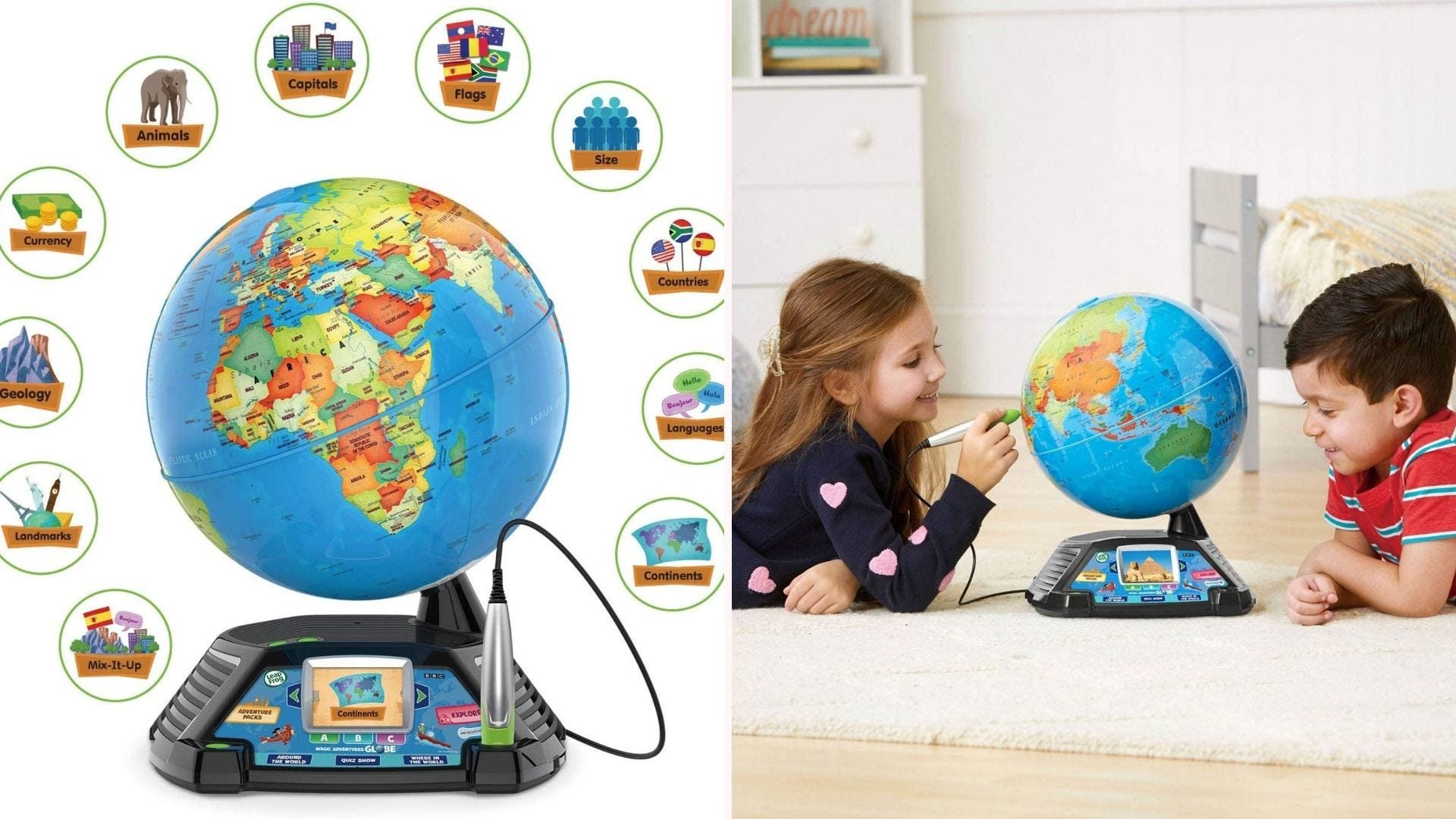 On the left, an 11-inch globe that features an electronically powered base with 2.7-inch LCD screen and a wired stylus. On the left, two children study the globe while laying down on a bedroom floor.