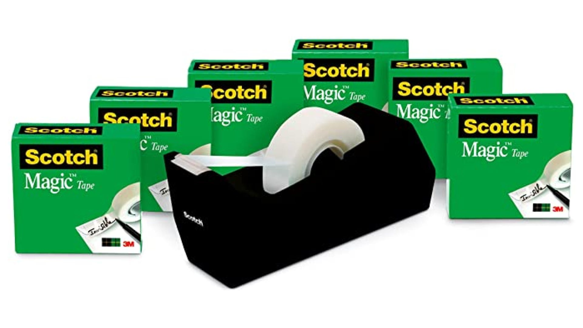 black tape dispenser with six green packs of Scotch tape