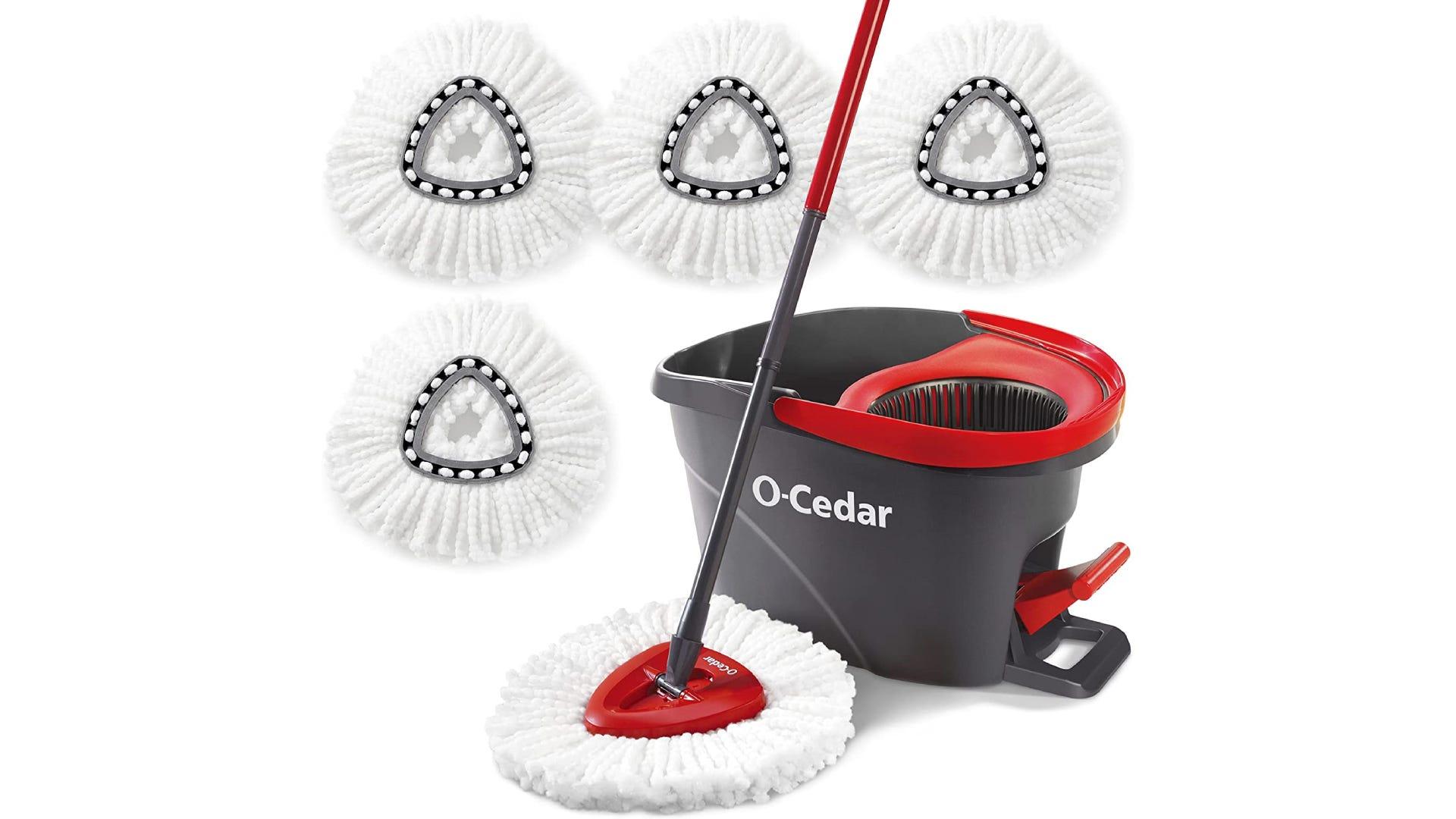 displayed black o-cedar mop bucket with spin mop