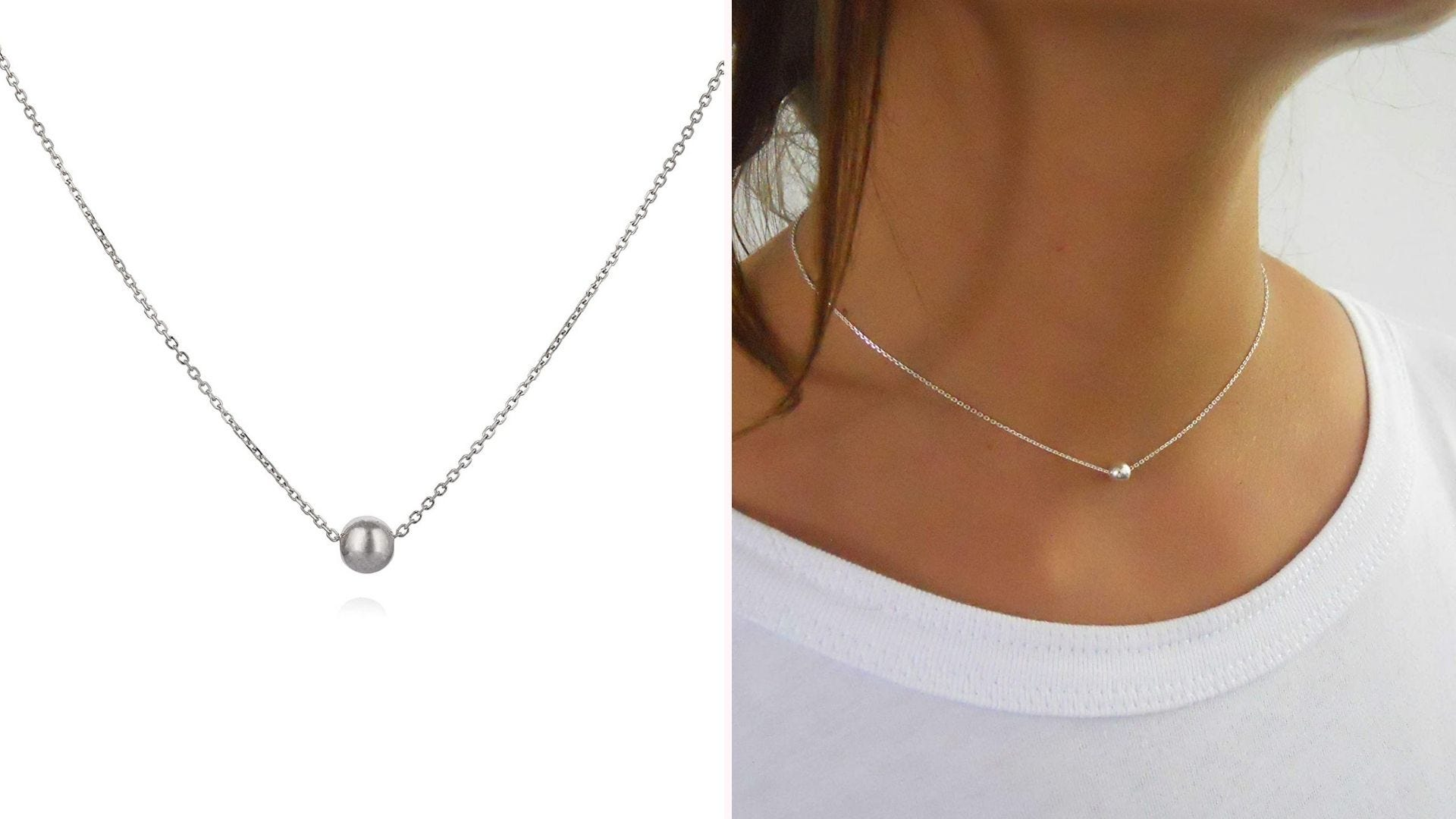 delicate silver chain choker with small silver ball on model's neck