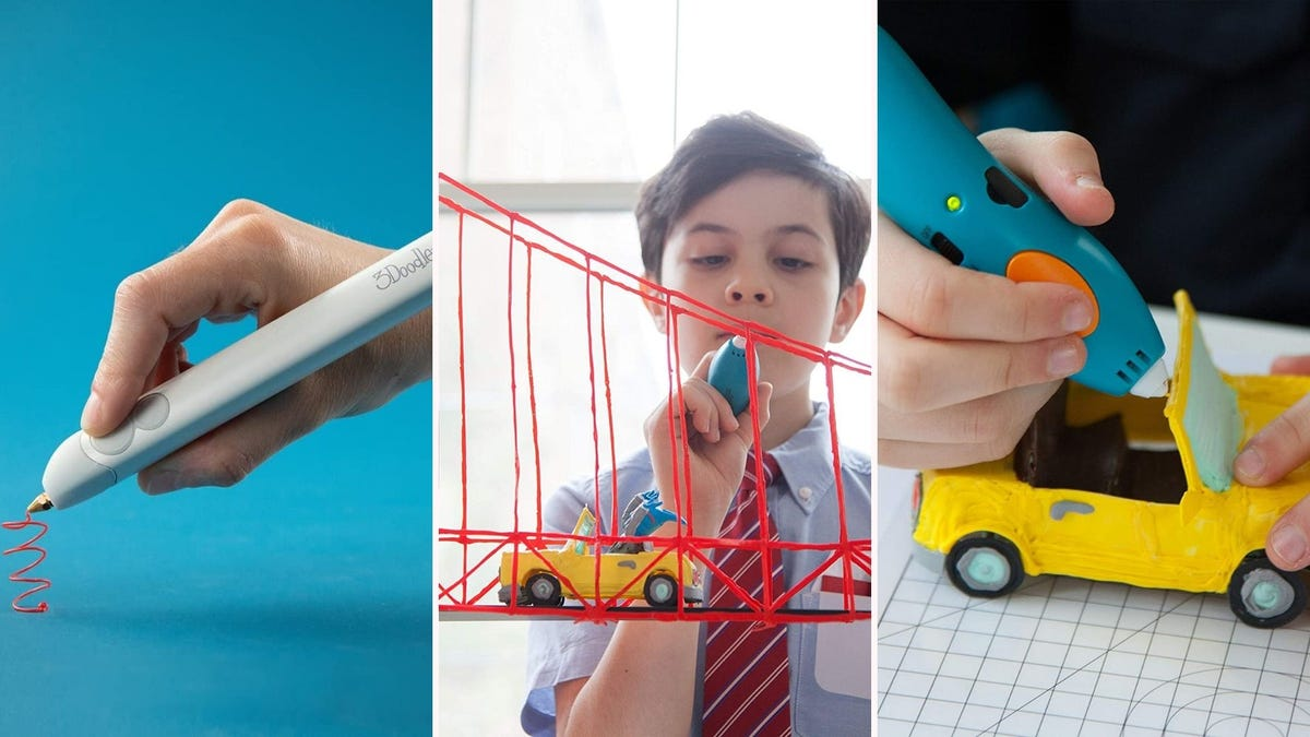 three 3D pens being used to draw a 3D squiggle, bridge, and car