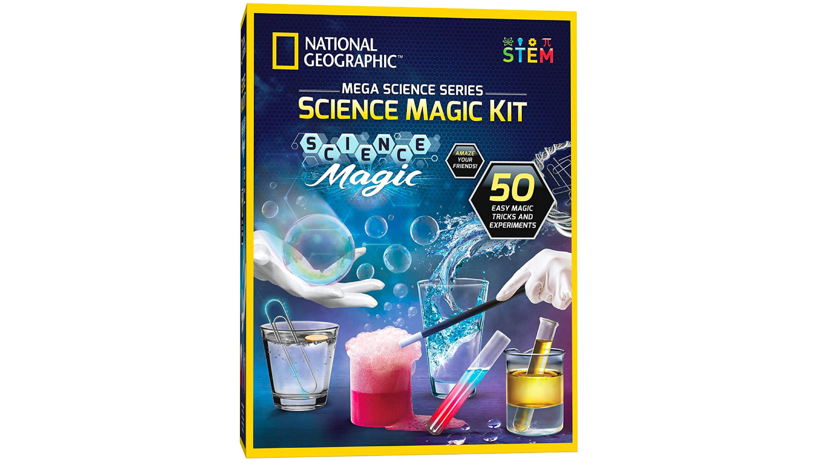 National Geographic product box showing a pair of hands conducting science experiments.