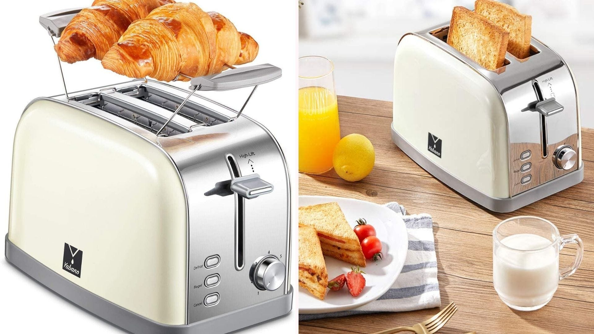 On the left, a silver toaster with cream-colored sides reheats two croissants that rest on an attached grill-rack above the toasting slots. On the right, the toaster sits on wooden kitchen counter surrounded by bread-oriented dishes.