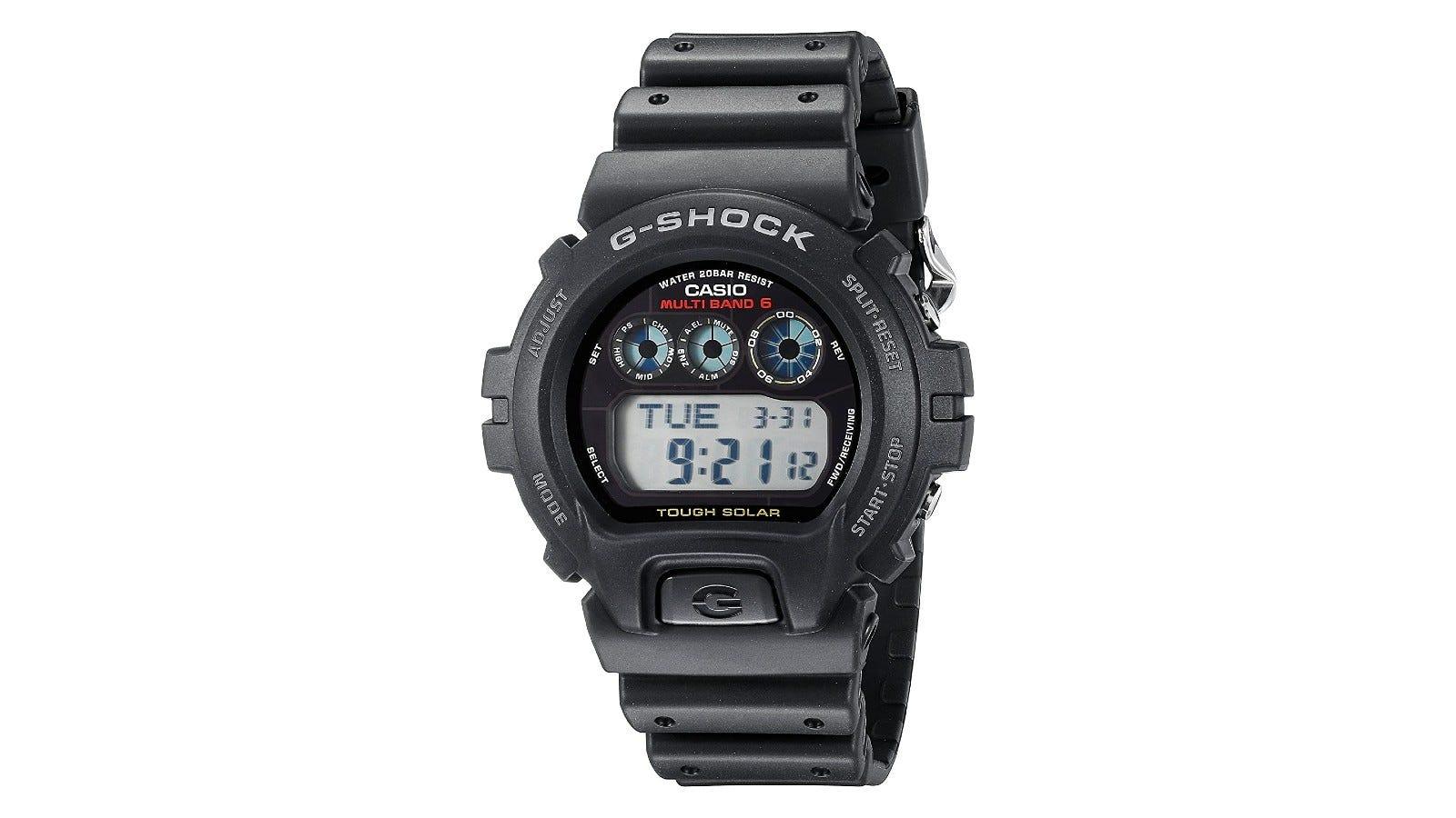 A black Casio G-Shock digital sports watch