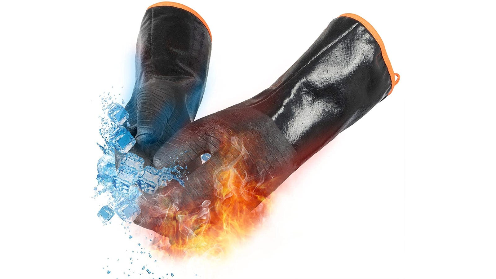 black long gloves shown with ice cubes and flames to show heat and cold resistance