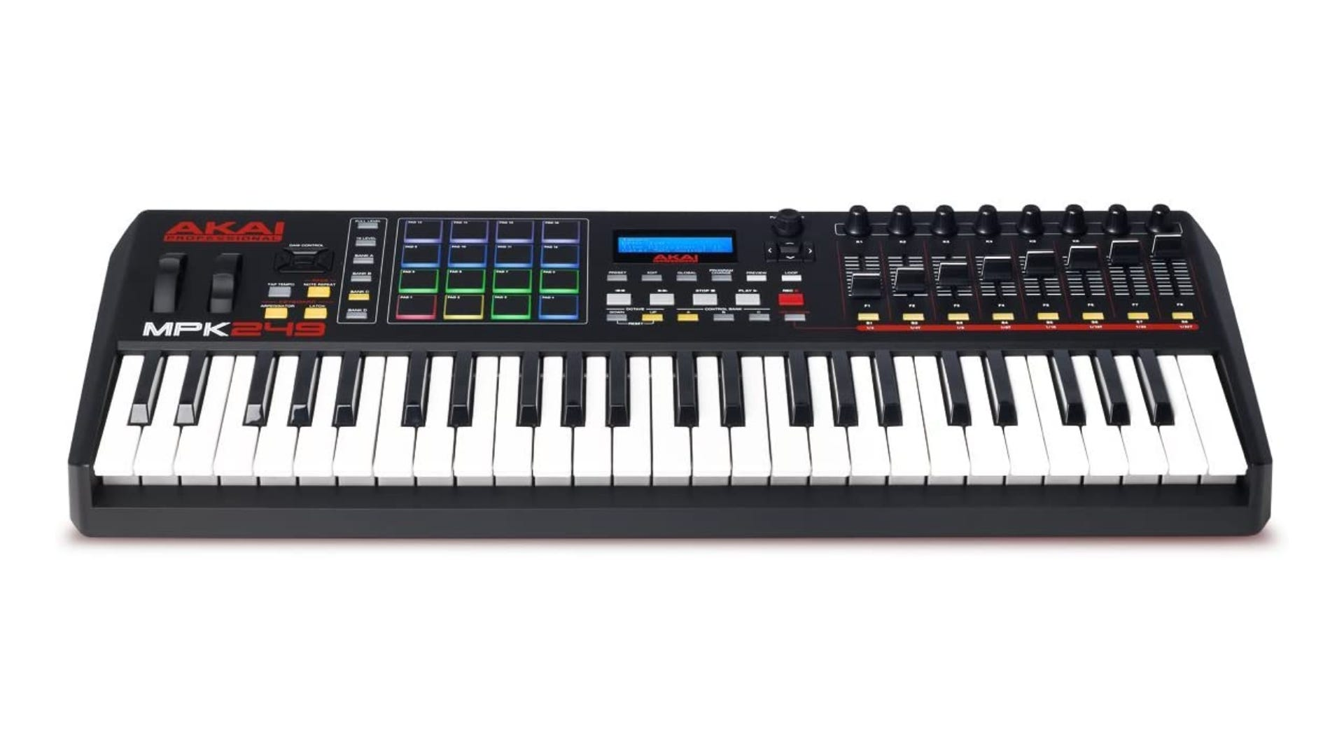 A MIDI keyboard with illuminated buttons.