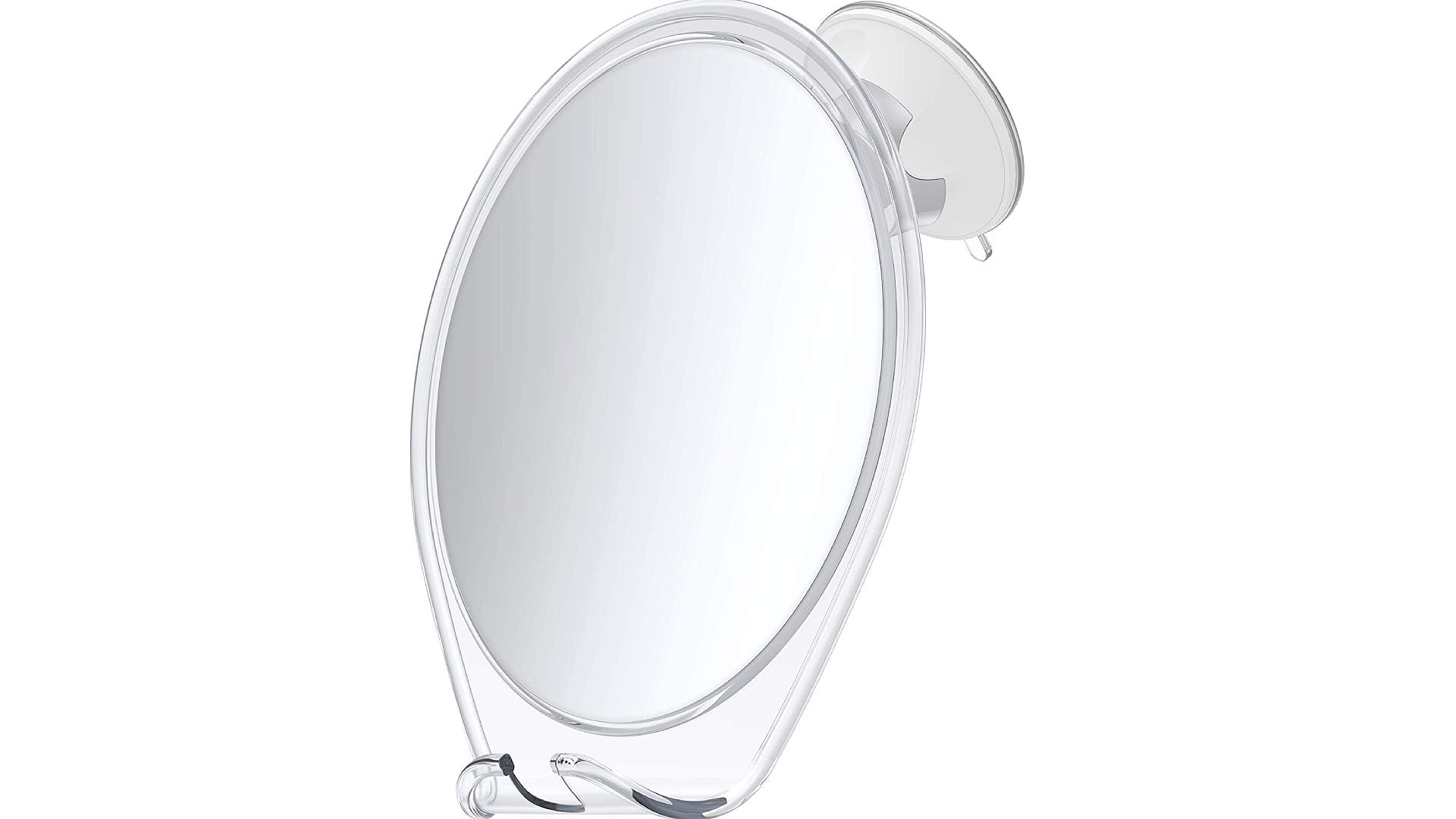 A suction hanging shower mirror with razor holder and clear frame.