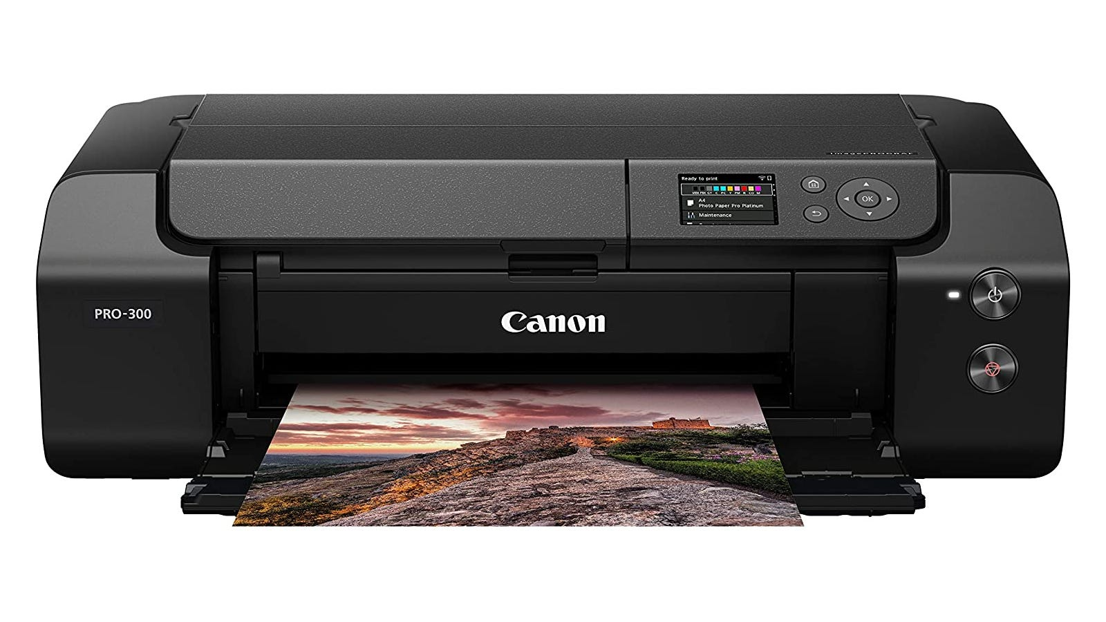 Black wide-format photo printer with Profession Print & Layout Software
