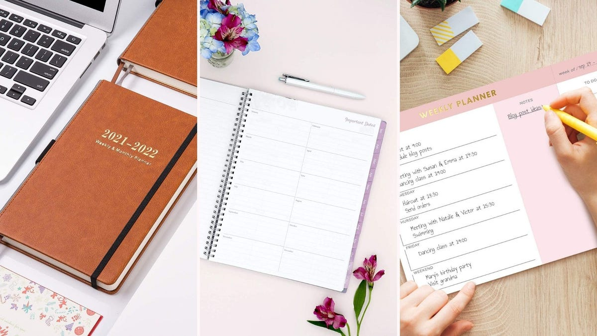 three different planners shown; one is closed, one is open, and one is being written on