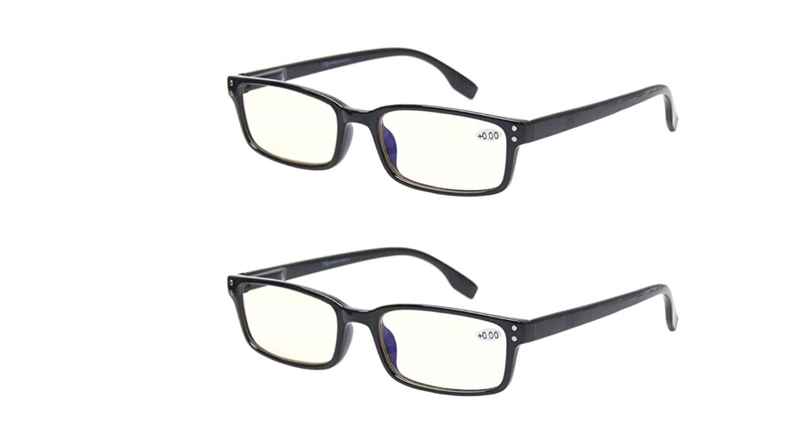 Two pairs of glasses with black frames and slightly yellow lenses